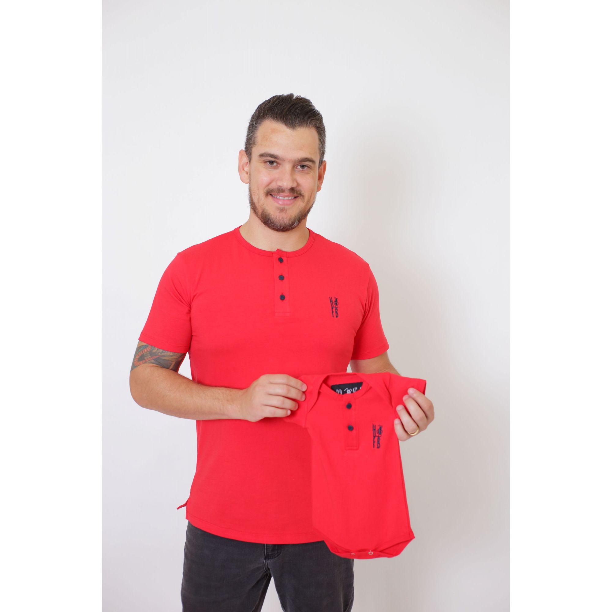 PAIS E FILHOS > Kit 3 Peças T-Shirt + Vestido + t-Shirt ou Body Infantil Henley - Vermelho [Coleção Família]  - Heitor Fashion Brazil