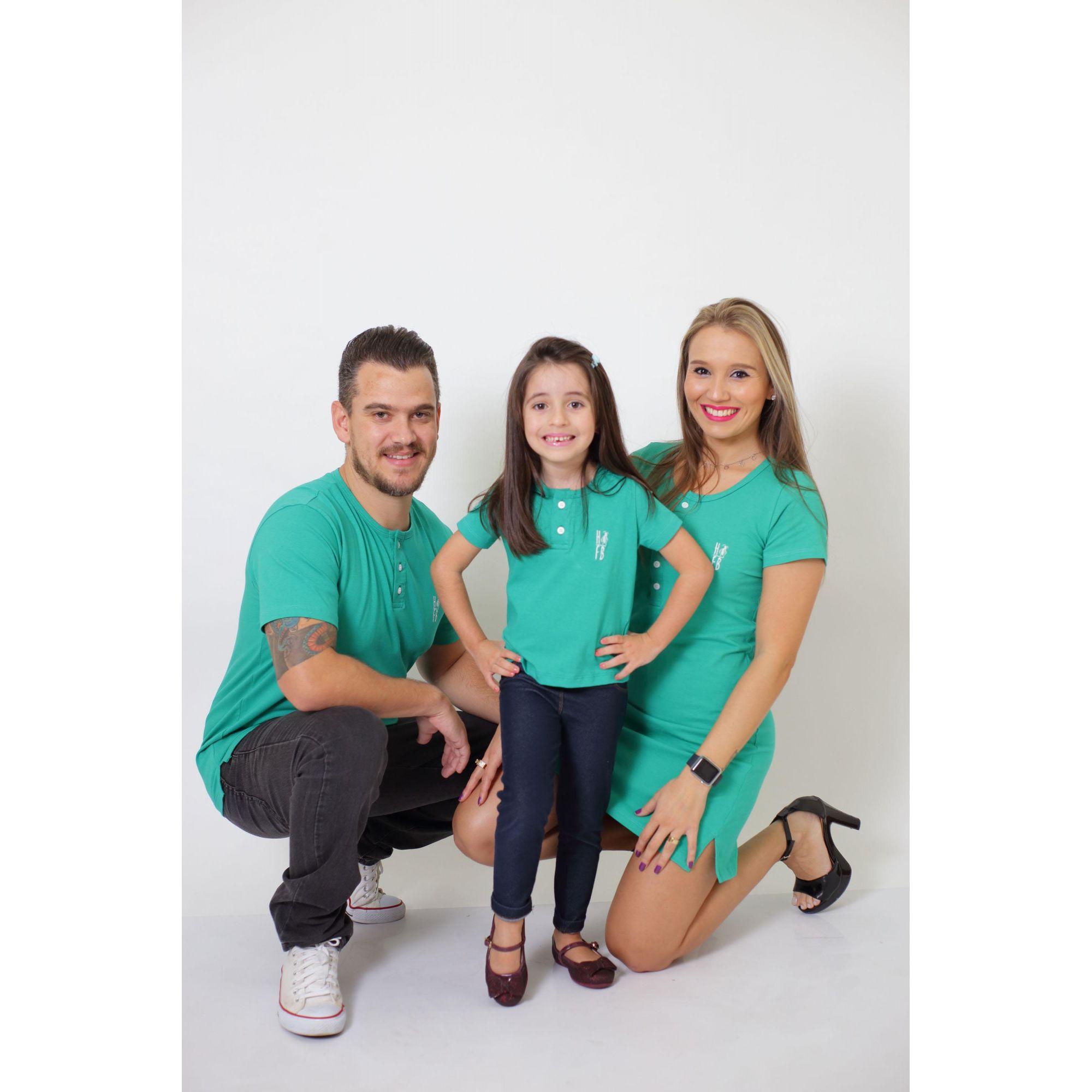 PAIS E FILHOS > Kit 3 Peças T-Shirt + Vestido + t-Shirt ou Body Infantil Henley - Verde Jade [Coleção Família]  - Heitor Fashion Brazil