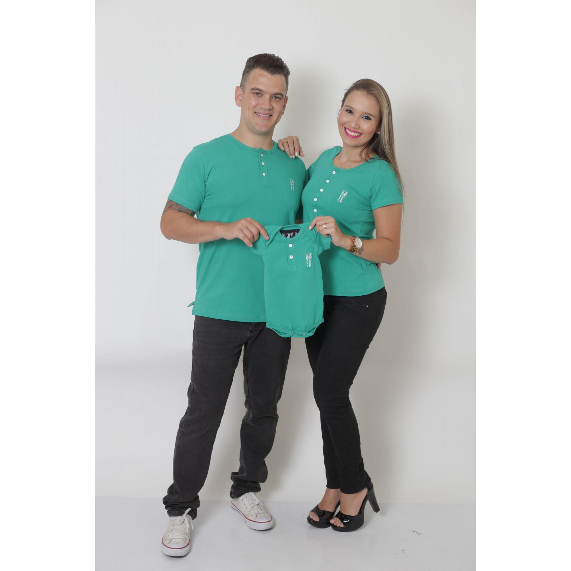 PAIS E FILHOS > Kit 3 Peças - T-Shirts + Body Unissex Henley - Verde Jade [Coleção Família]  - Heitor Fashion Brazil