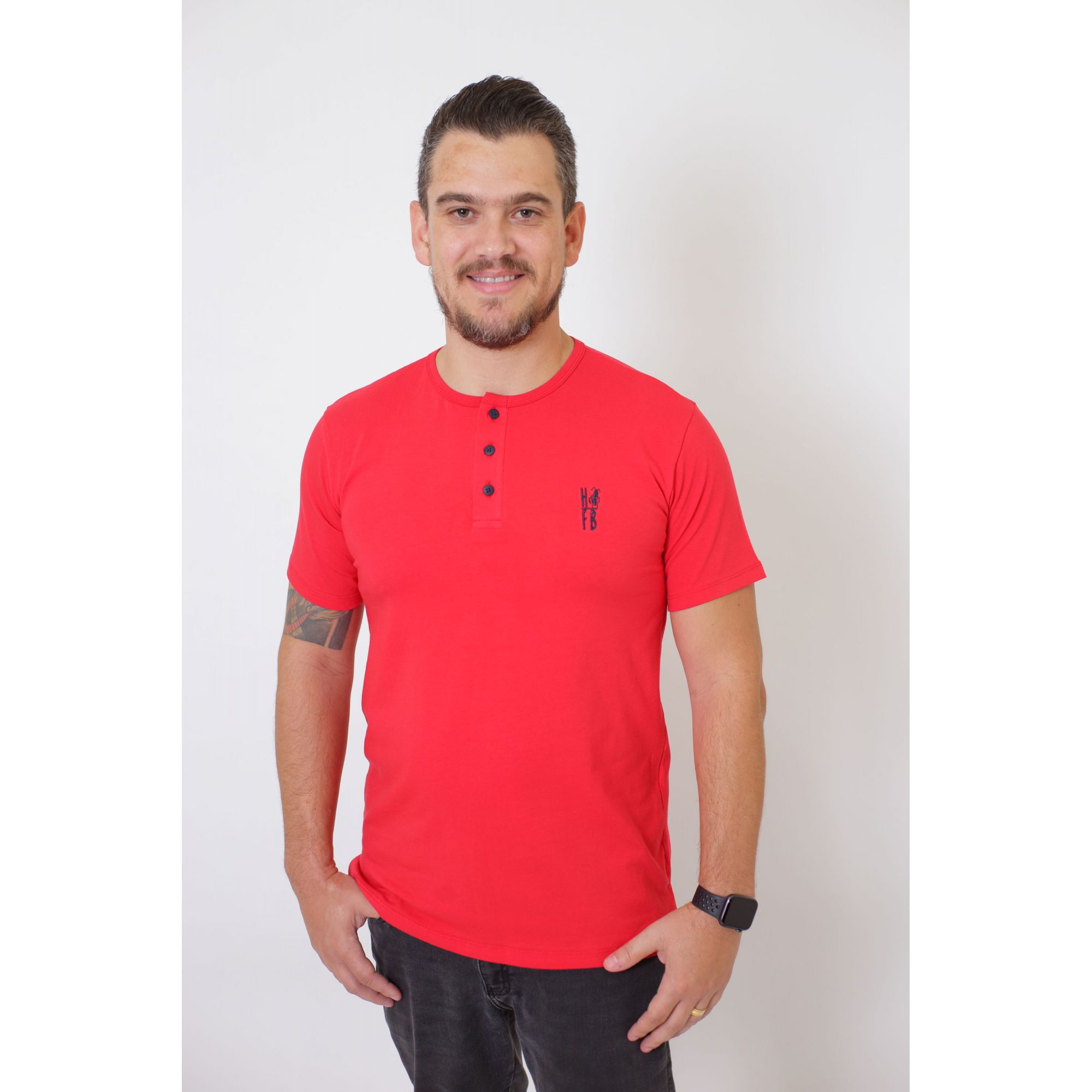 PAIS E FILHOS > Kit 3 Peças - T-Shirts + Body Henley - Vermelho [Coleção Família]  - Heitor Fashion Brazil