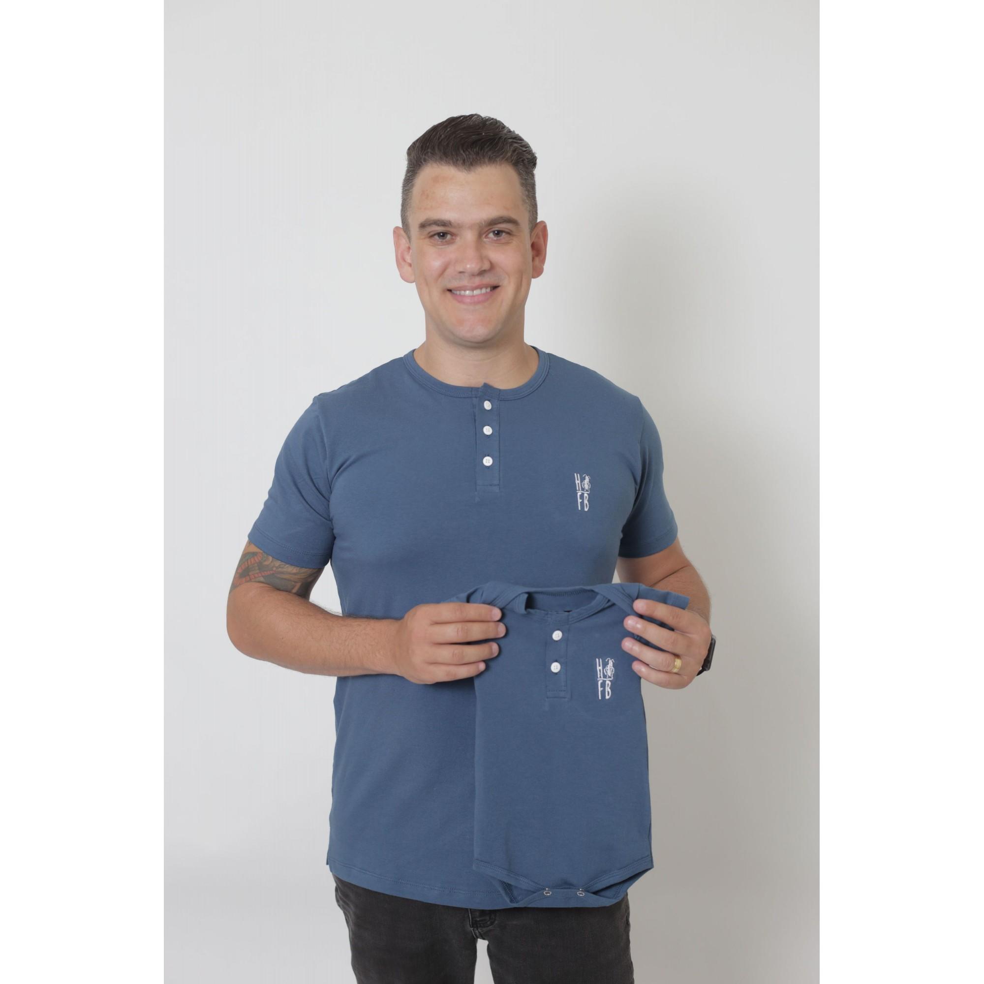 PAIS E FILHOS > Kit 3 Peças - T-Shirts + Body Unissex Henley - Azul Petróleo [Coleção Família]  - Heitor Fashion Brazil