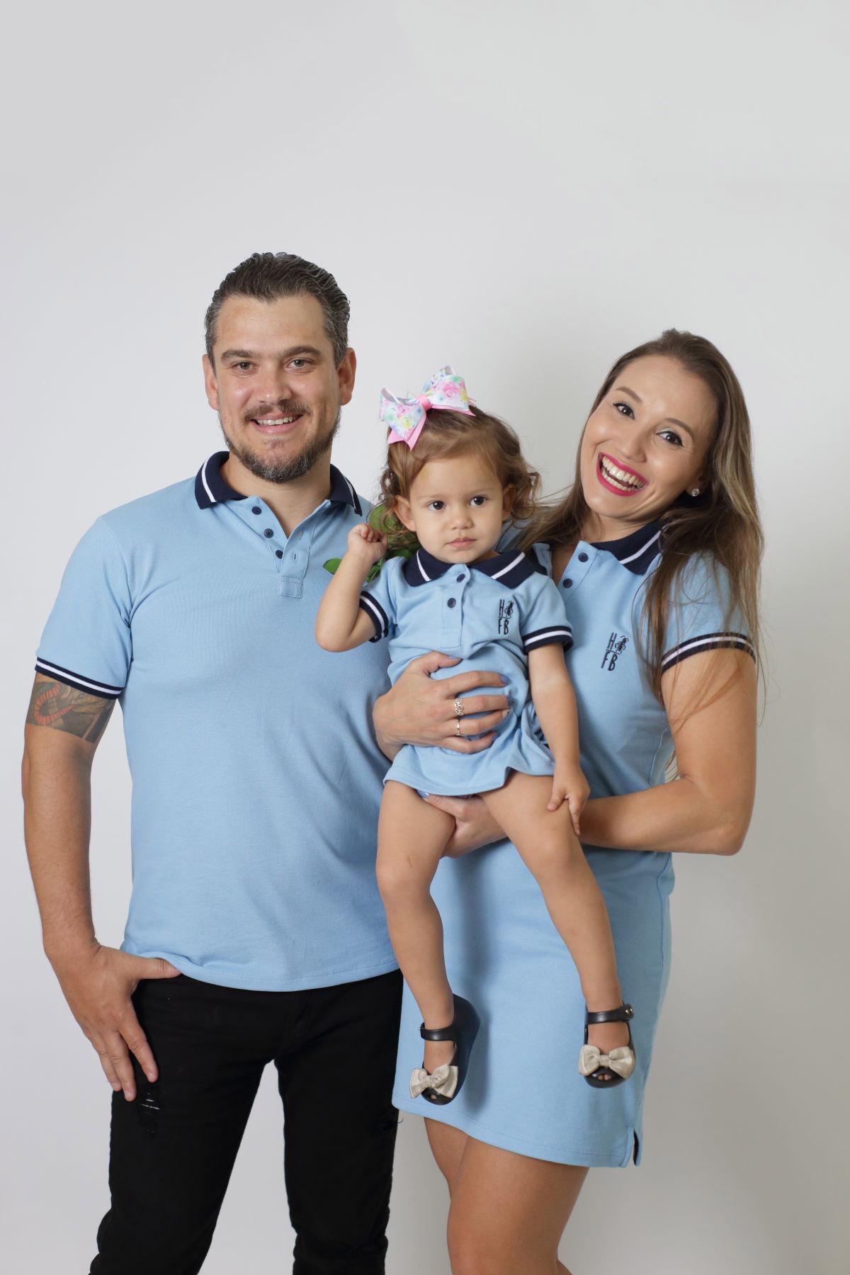 PAIS E FILHOS > Kit 3 peças Vestidos Polo e Camisa Azul Nobreza