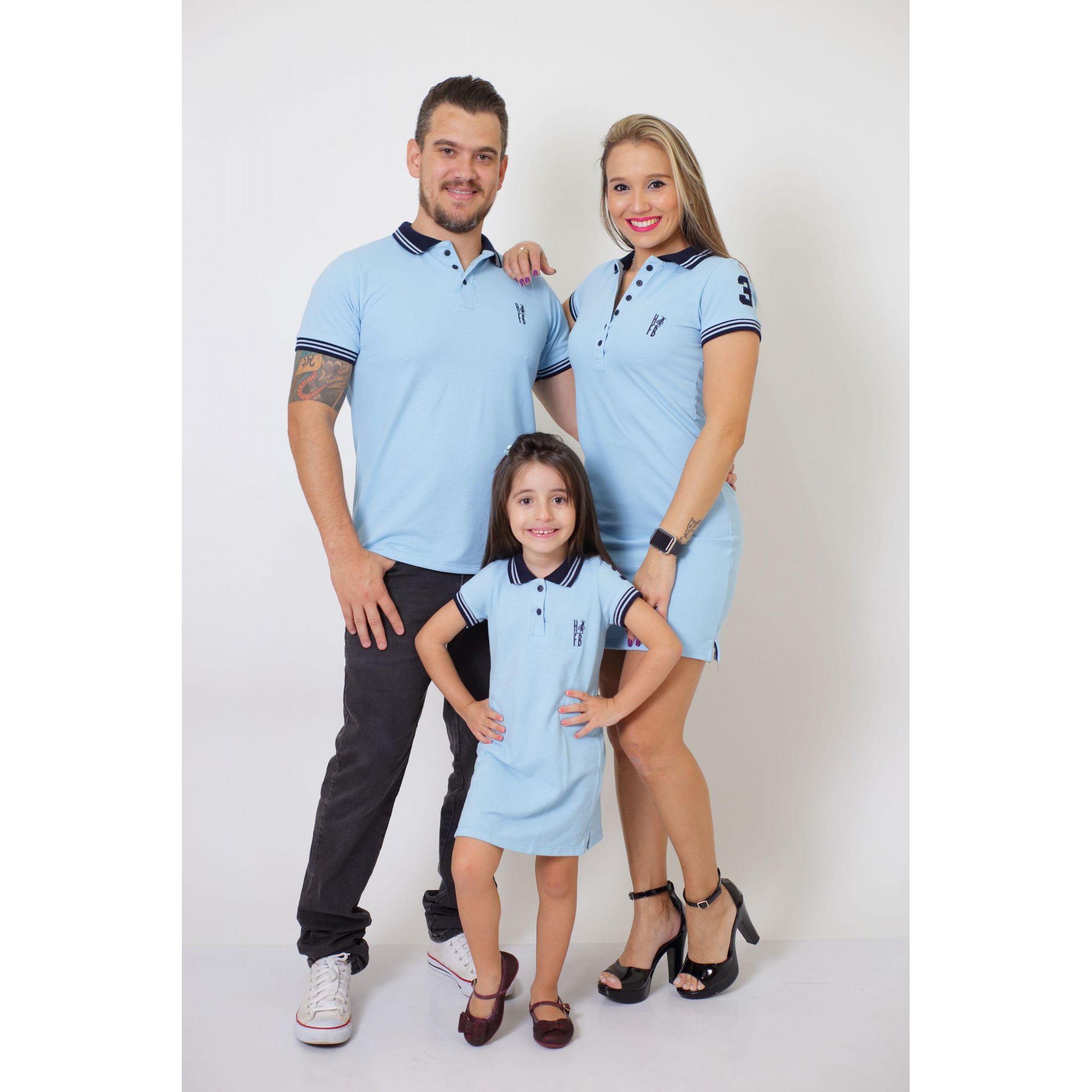 PAIS E FILHOS > Kit 3 peças Vestidos Polo e Camisa Azul Nobreza [Coleção Família]