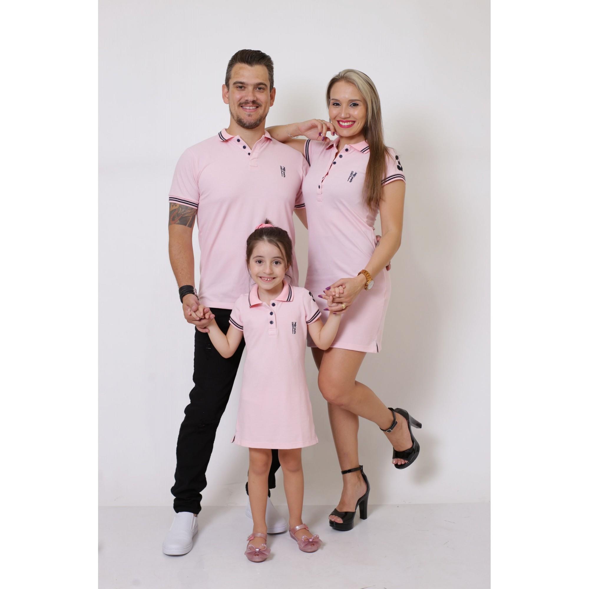 PAIS E FILHOS > Kit 3 peças Vestidos Polo e Camisa Rosa Amor [Coleção Família]