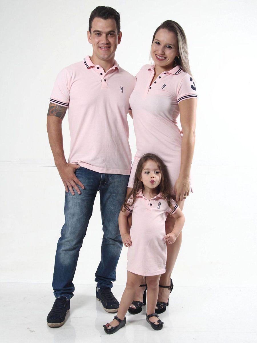 PAIS E FILHOS > Kit 3 peças Vestidos Polo e Camisa Rosas Amor [Coleção Família]