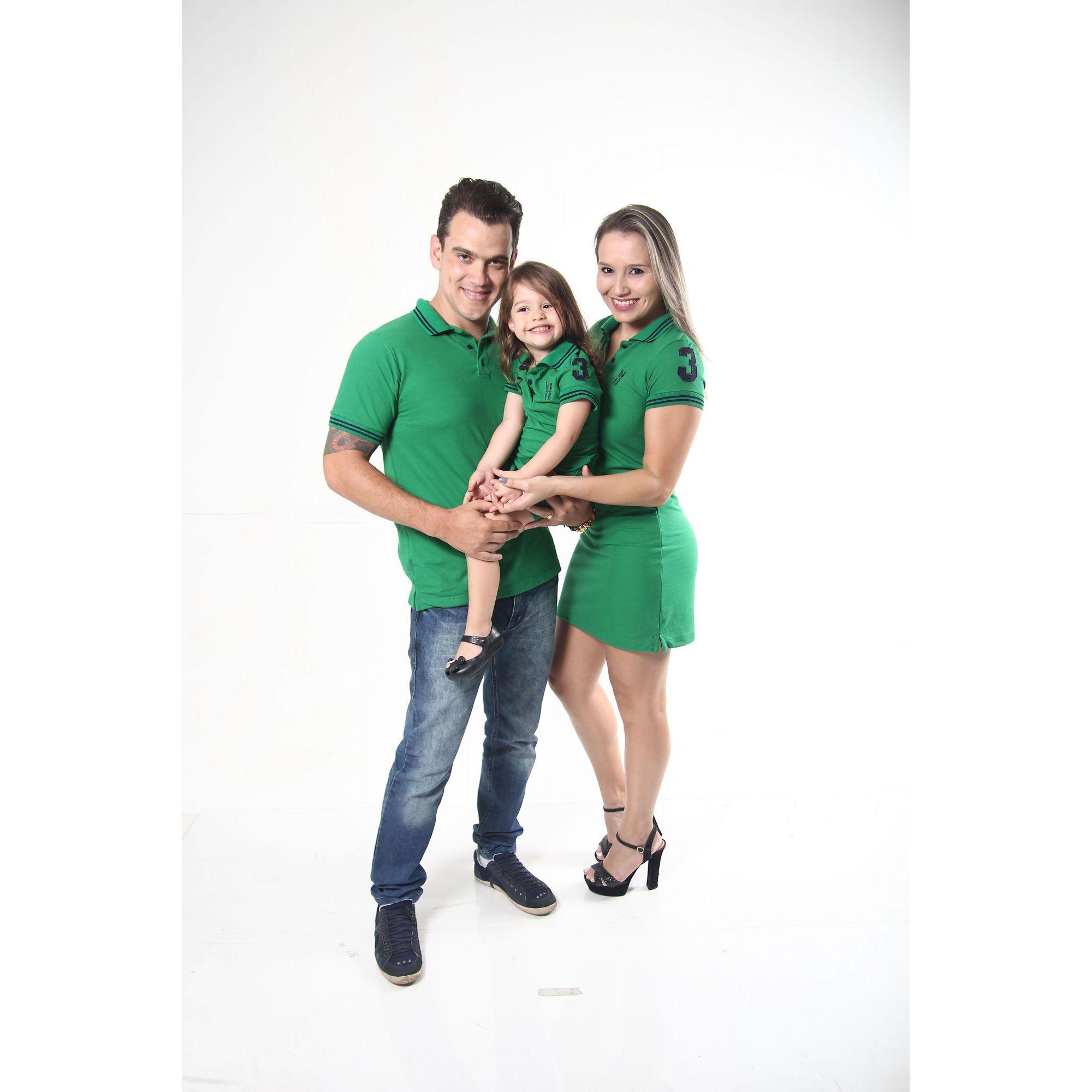 PAIS E FILHOS > Kit 3 peças Vestidos  Polo e Camisa Verde Esperança [Coleção Família]