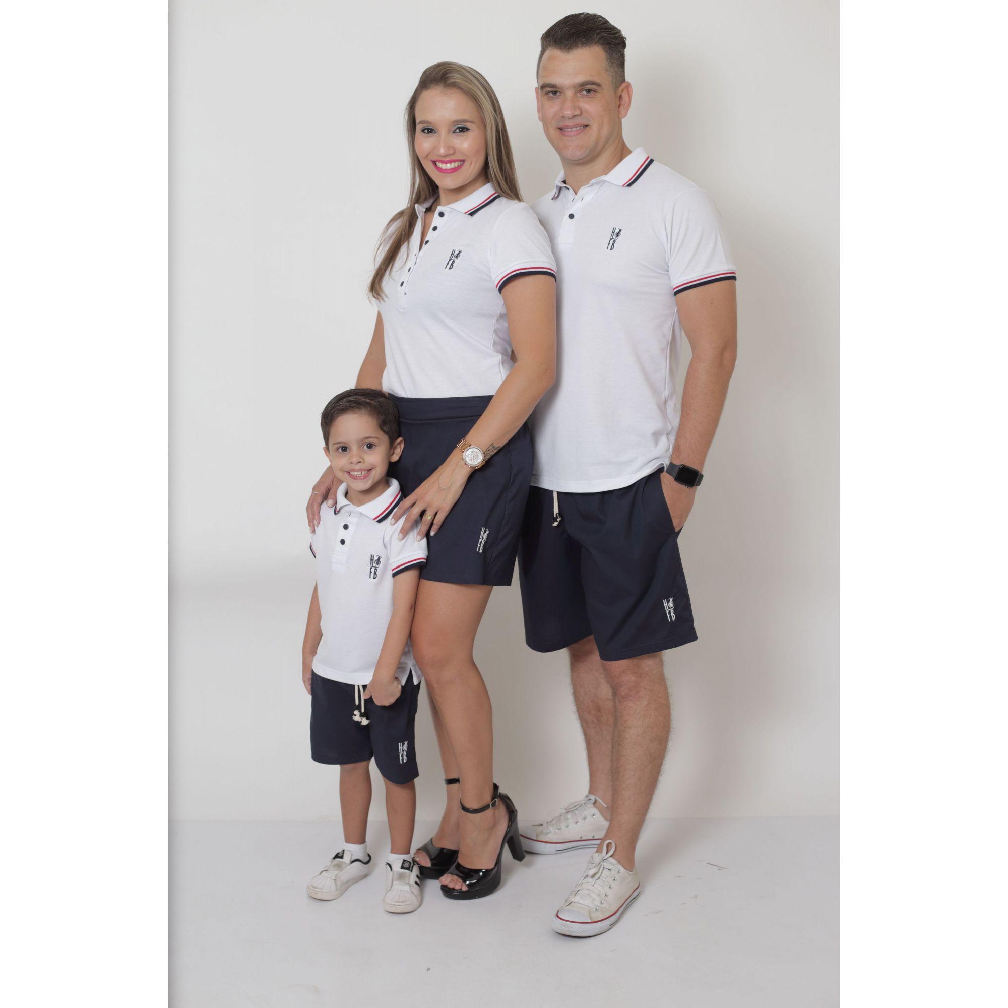 PAIS E FILHOS > Kit - Short Saia + Bermuda Adulta + Bermuda Infantil - Azul Marinho [Coleção Família]