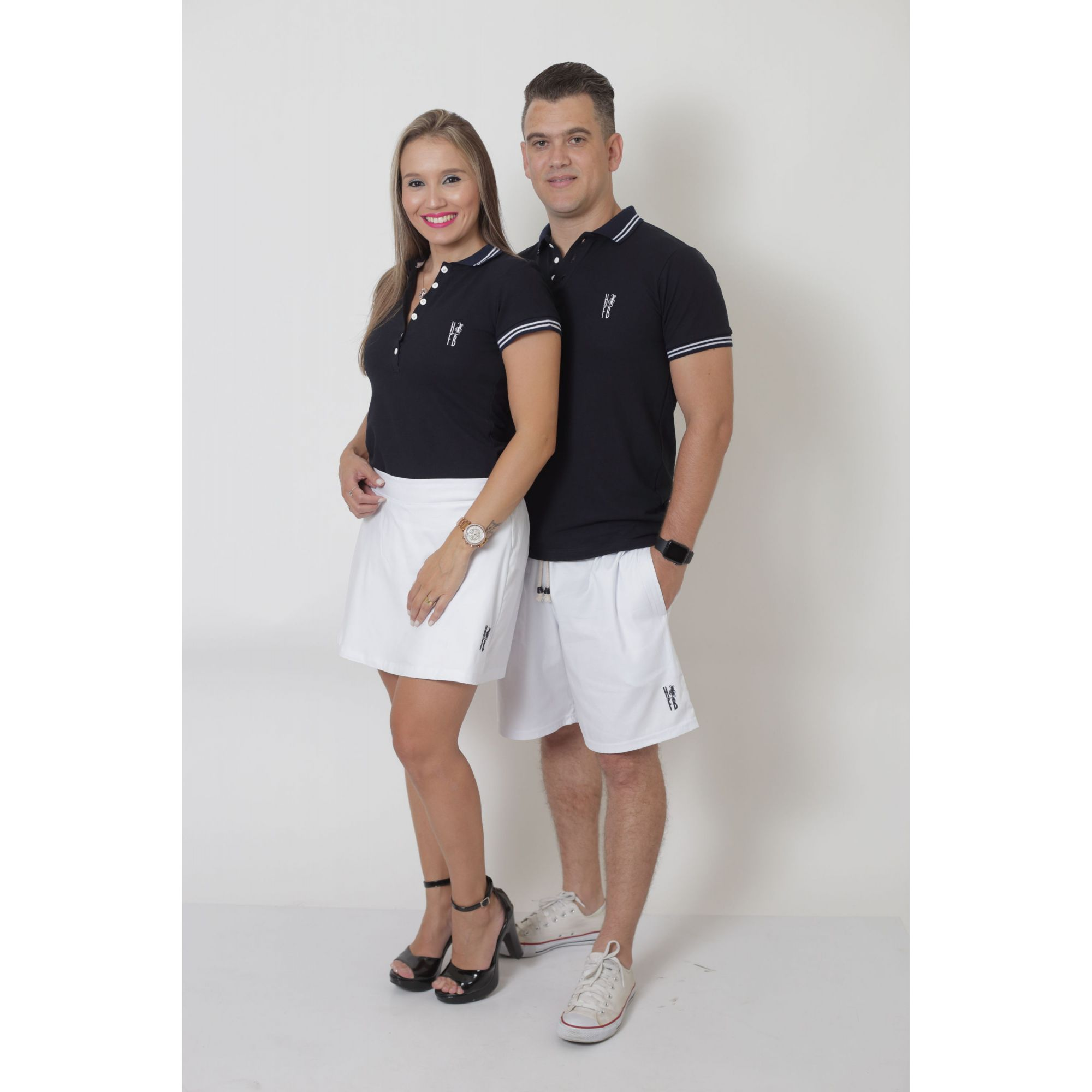 PAIS E FILHOS > Kit - Short Saia + Bermuda Adulta + Bermuda Infantil - Branca [Coleção Família]  - Heitor Fashion Brazil