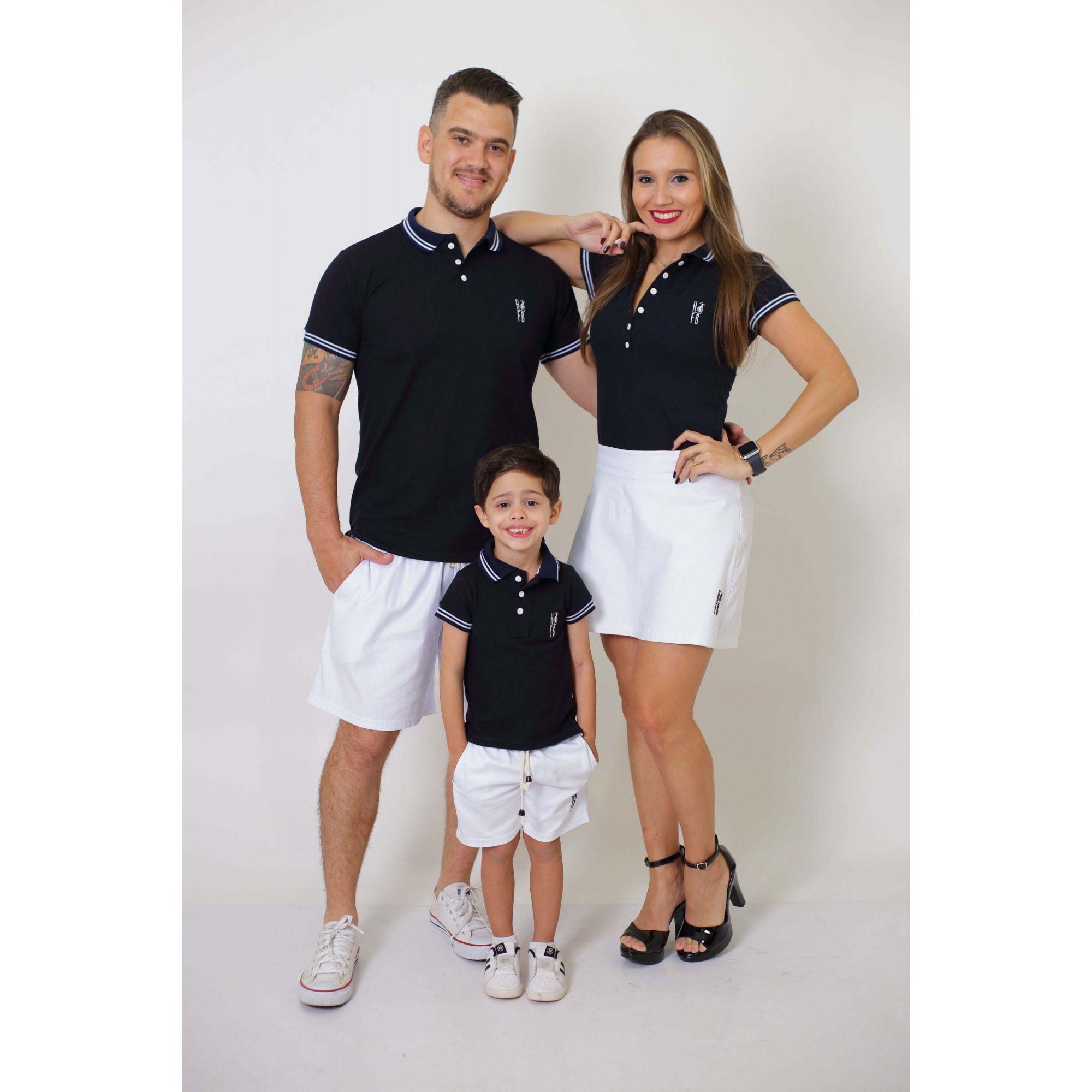 PAIS E FILHOS > Kit - Short Saia + Bermuda Adulta + Bermuda Infantil - Branca [Coleção Família]