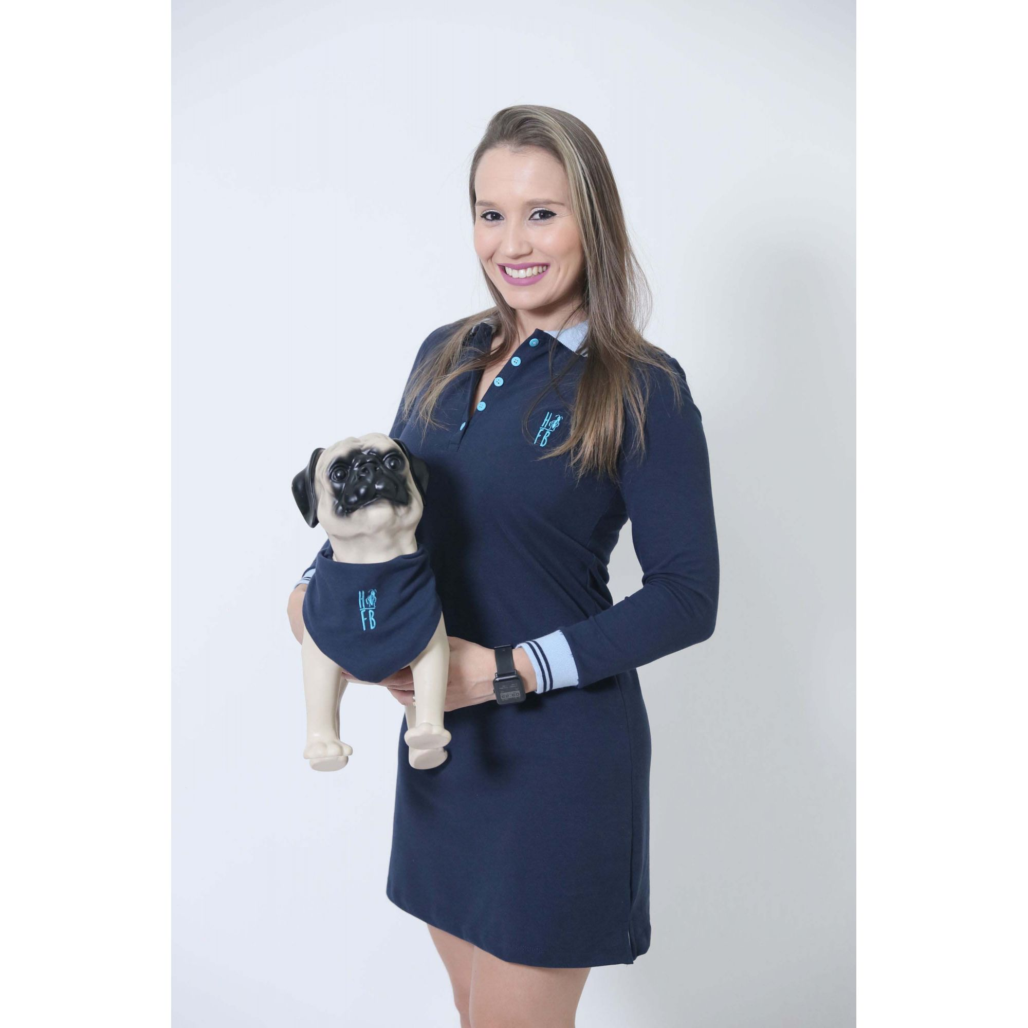 PAIS E PET > Kit 3 peças Camisa + Vestido Polo + Bandana - Azul Manga Longa [Coleção Família]  - Heitor Fashion Brazil