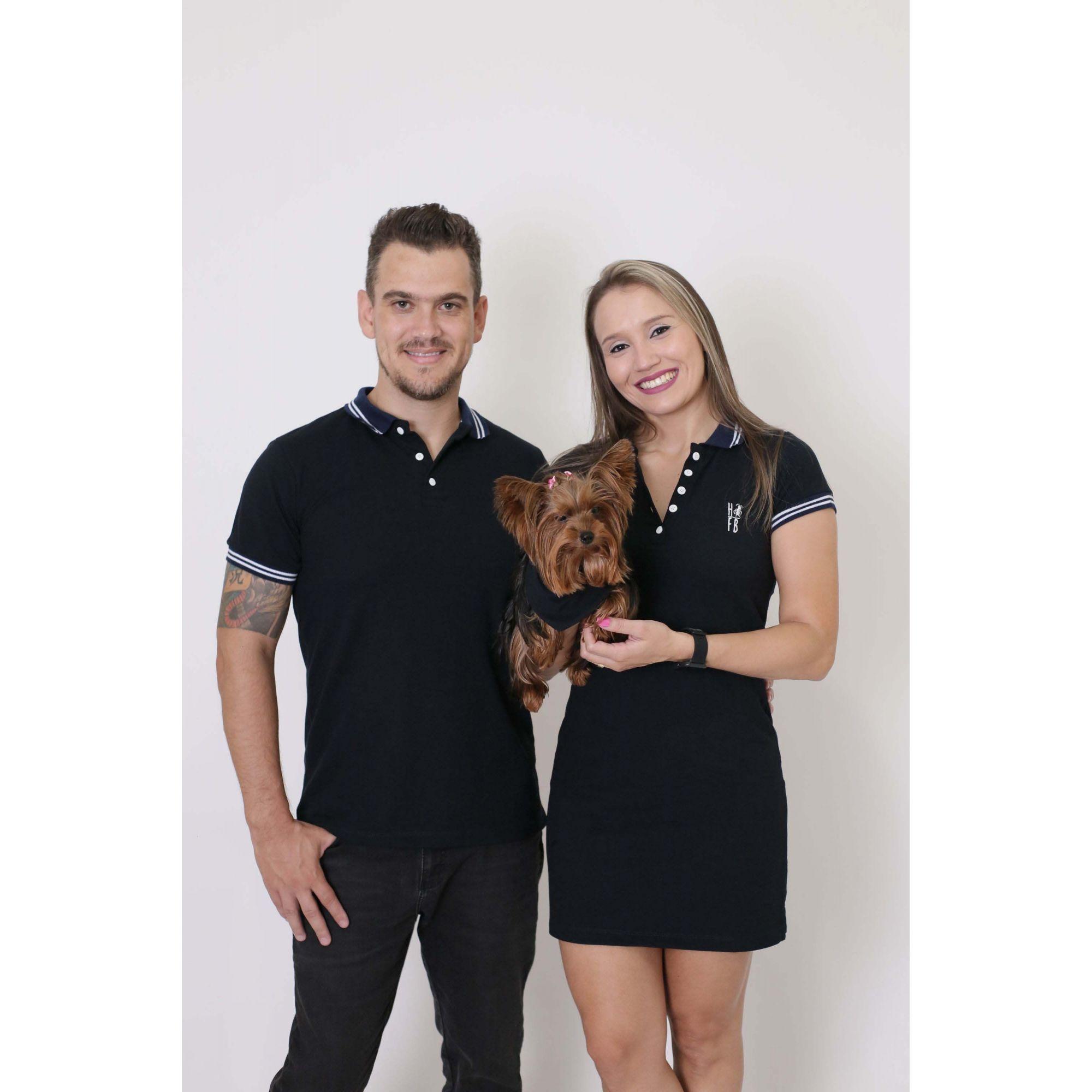 PAIS E PET > Kit 3 peças Camisa + Vestido Polo + Bandana - Azul Marinho Céu [Coleção Família]