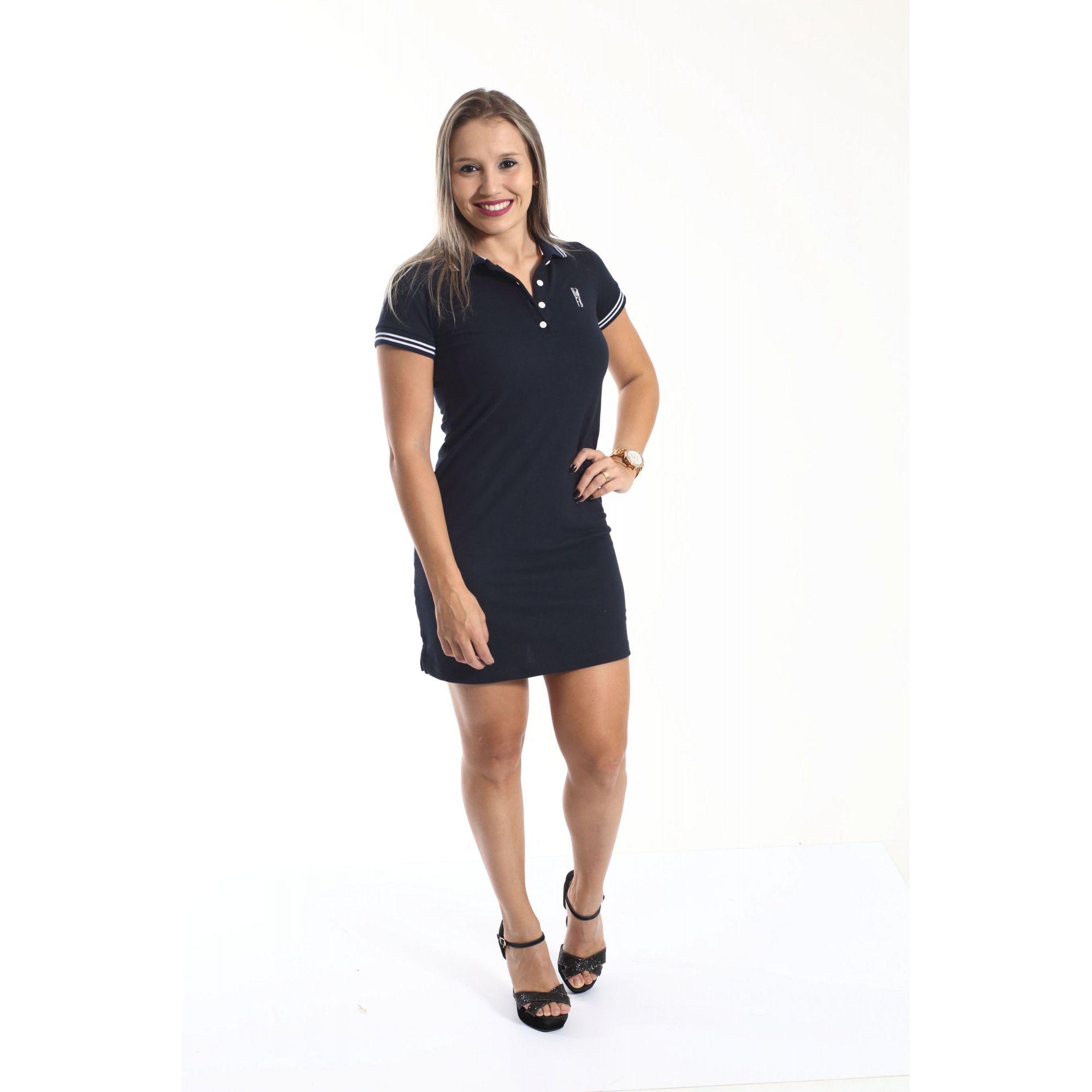 PAIS E PET > Kit 3 peças Camisa + Vestido Polo + Bandana - Azul Marinho Céu [Coleção Família]  - Heitor Fashion Brazil