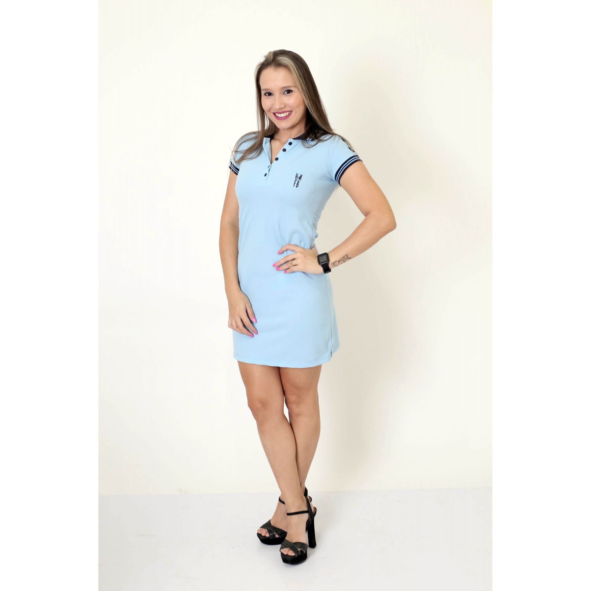 PAIS E PET > Kit 3 peças Camisa + Vestido Polo + Bandana - Azul Nobreza [Coleção Família]  - Heitor Fashion Brazil