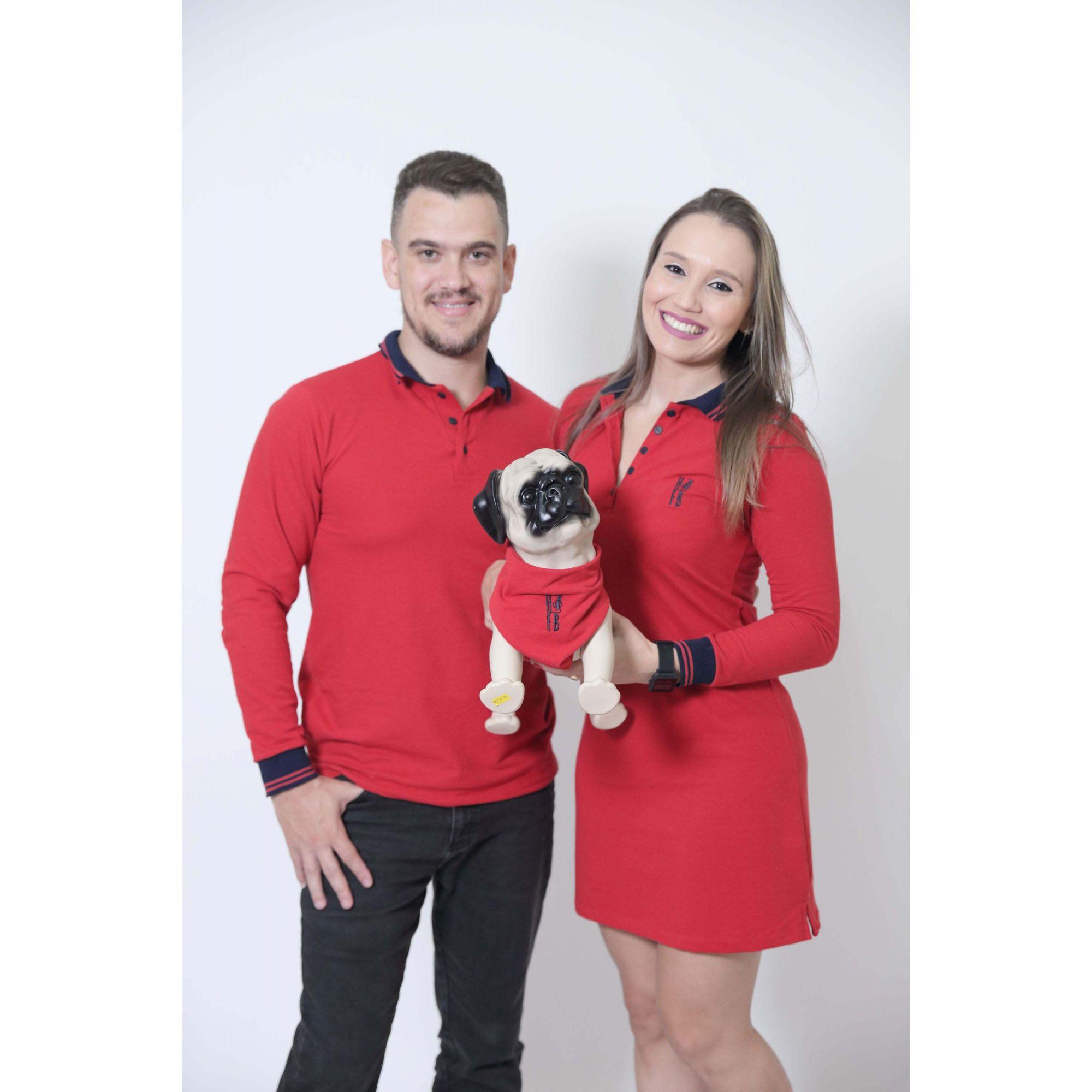 PAIS E PET > Kit 3 peças Camisa + Vestido Polo + Bandana - Vermelho Manga Longa [Coleção Família]