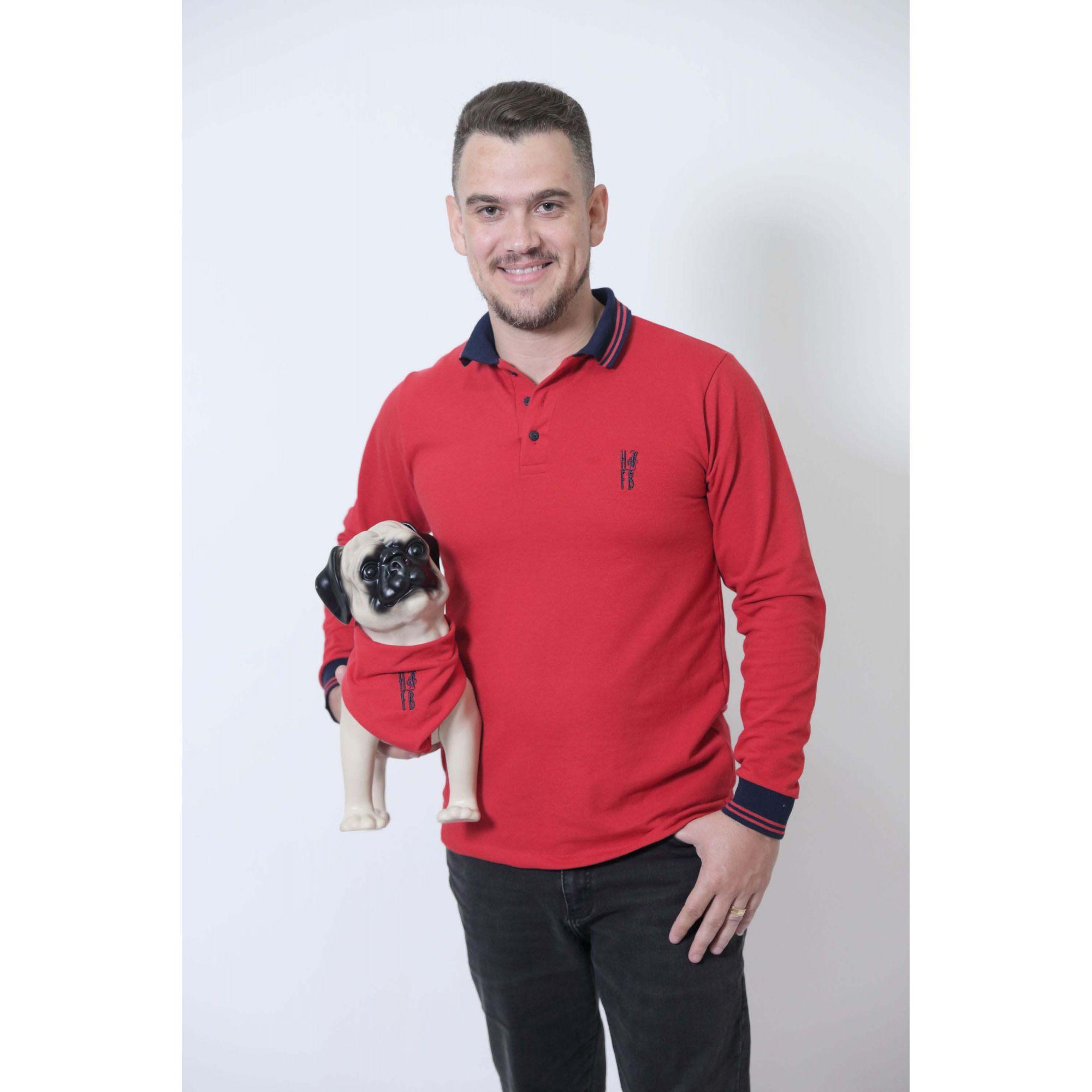 PAIS E PET > Kit 3 peças Camisa + Vestido Polo + Bandana - Vermelho Manga Longa [Coleção Família]  - Heitor Fashion Brazil