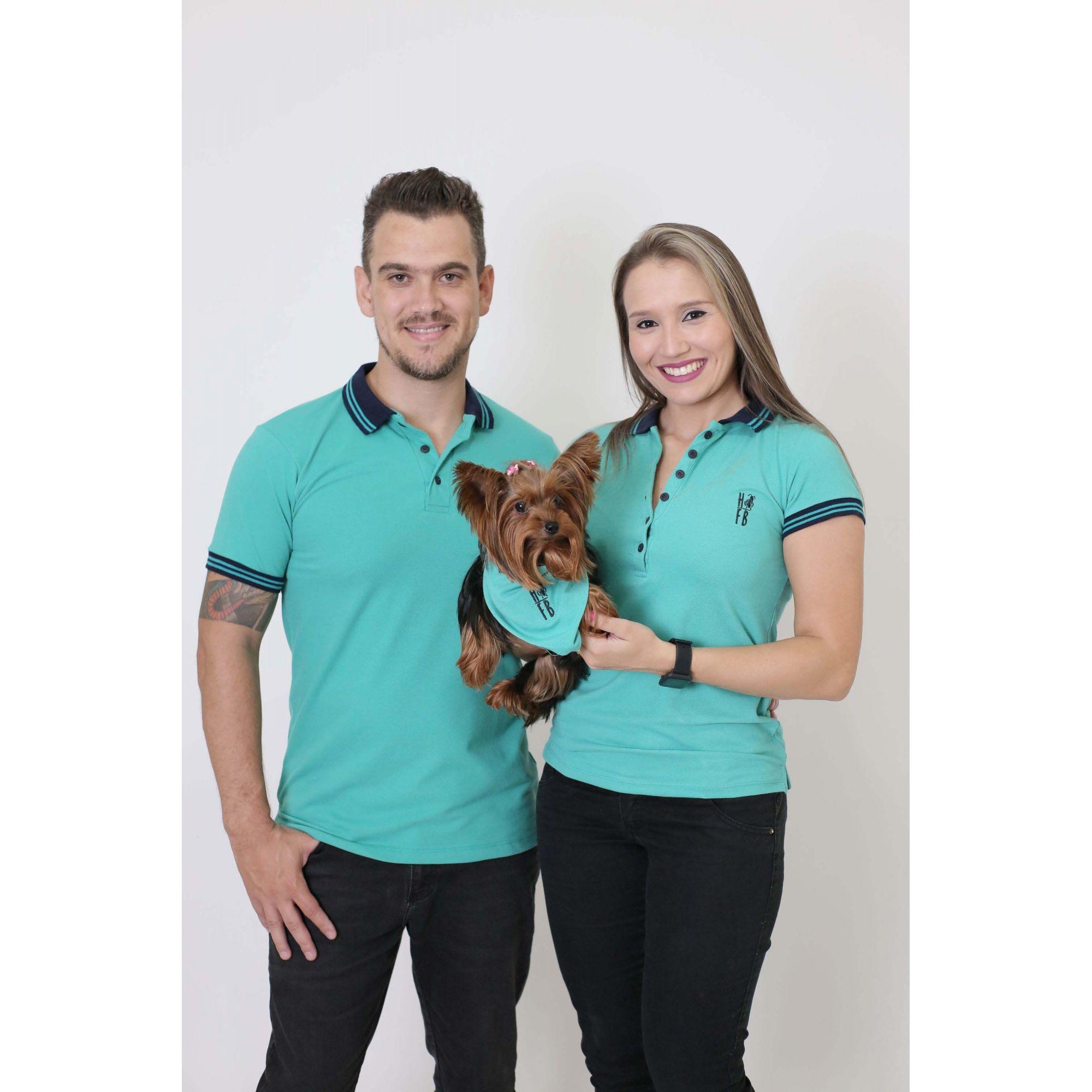 PAIS E PET > Kit 3 peças Camisas Polo + Bandana - Verde Jade [Coleção Família]