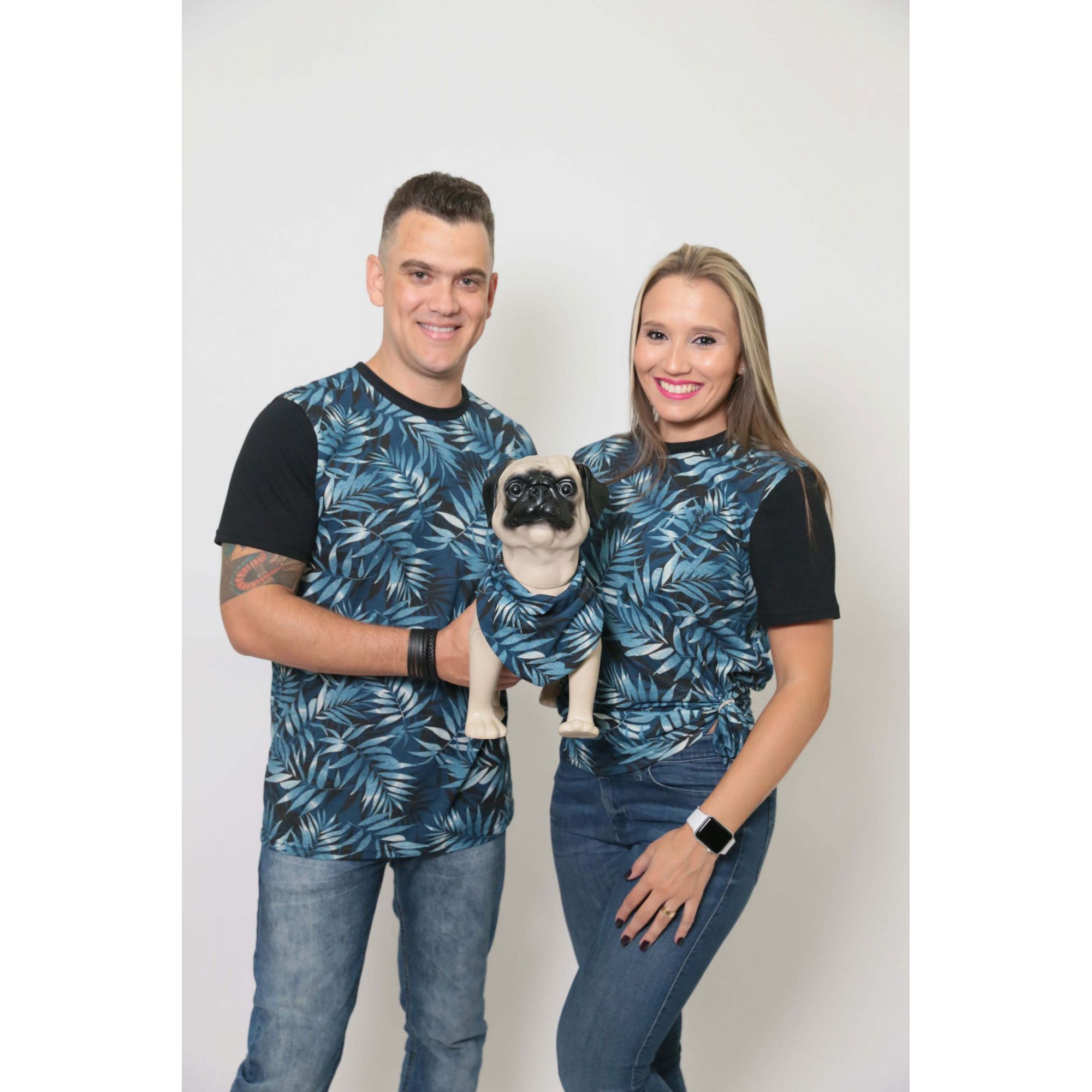 PAIS E PET > Kit 3 peças T-Shirt + Bandana - Tropical [Coleção Família]