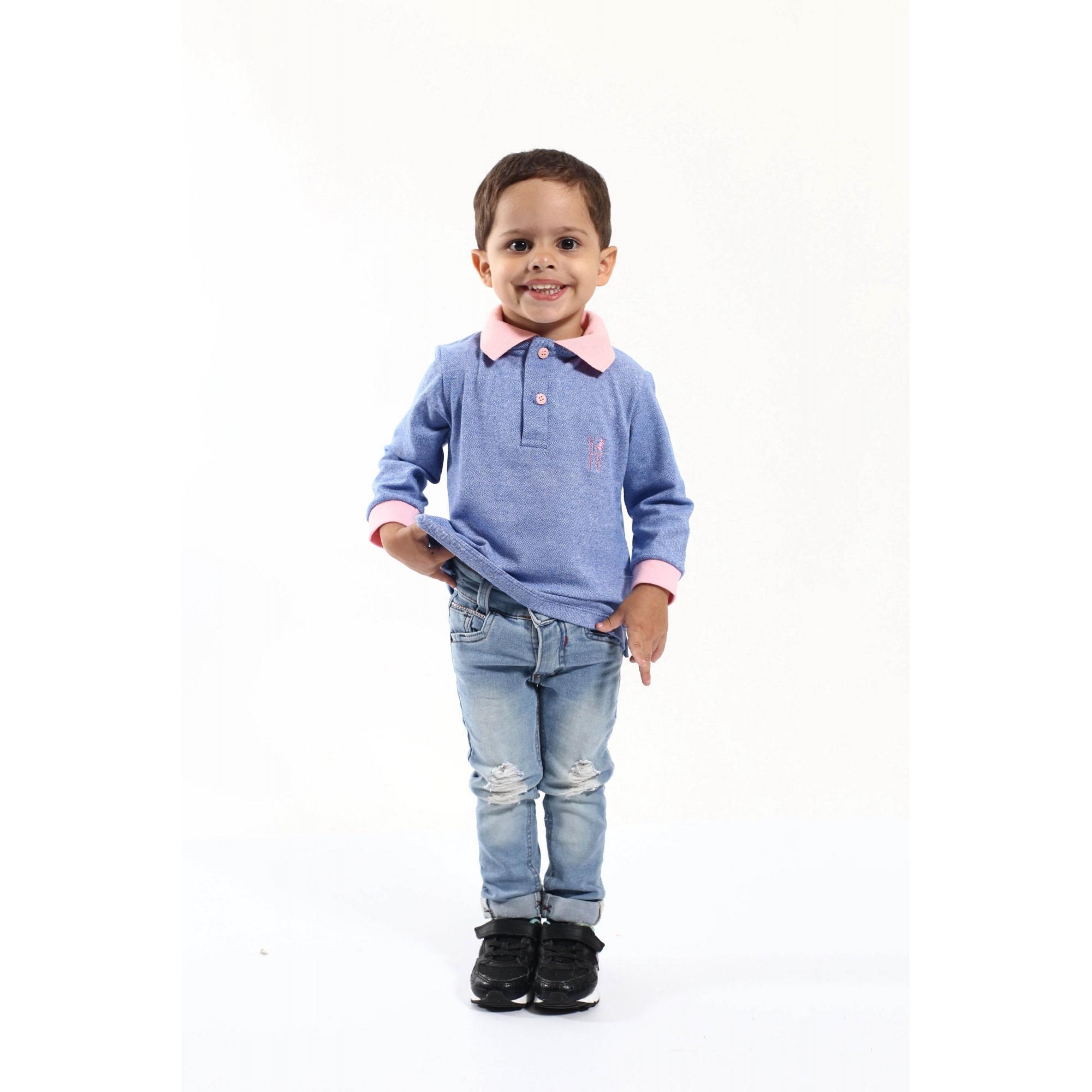 Camisa Polo Infantil Azul Claro com Rosa Manga Longa
