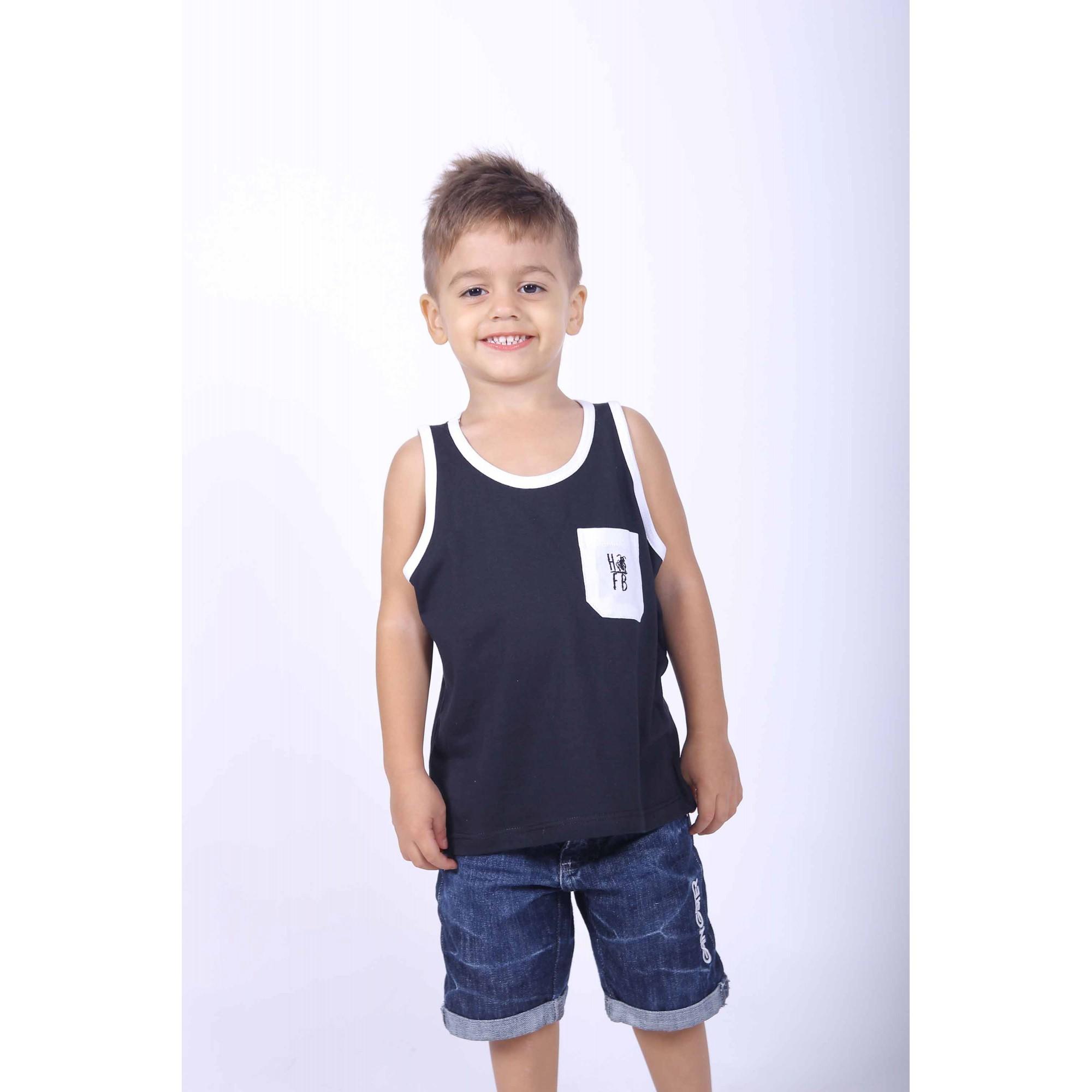 Regata Infantil Preta  - Heitor Fashion Brazil