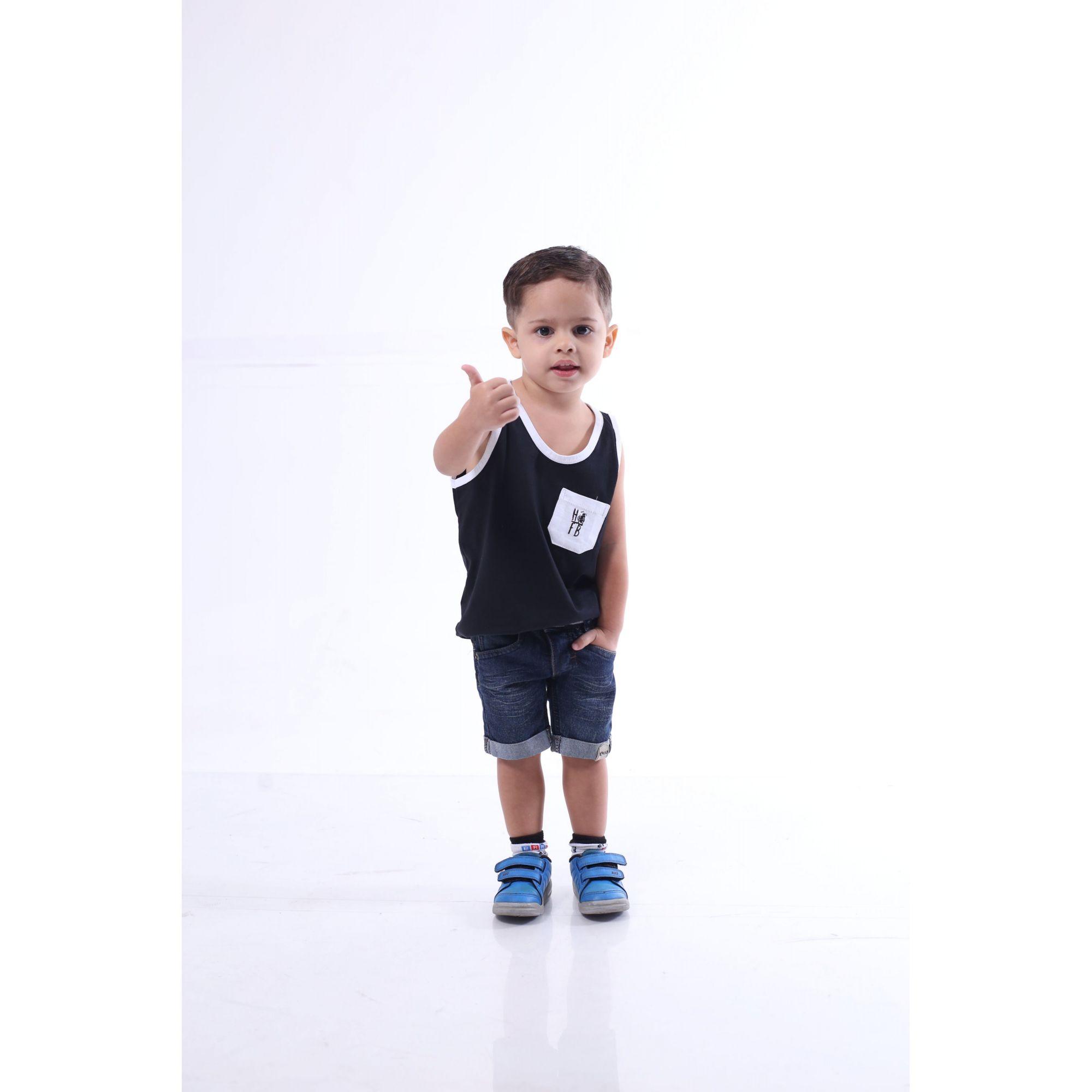 Regata Infantil Preta com Bolso Branco  - Heitor Fashion Brazil