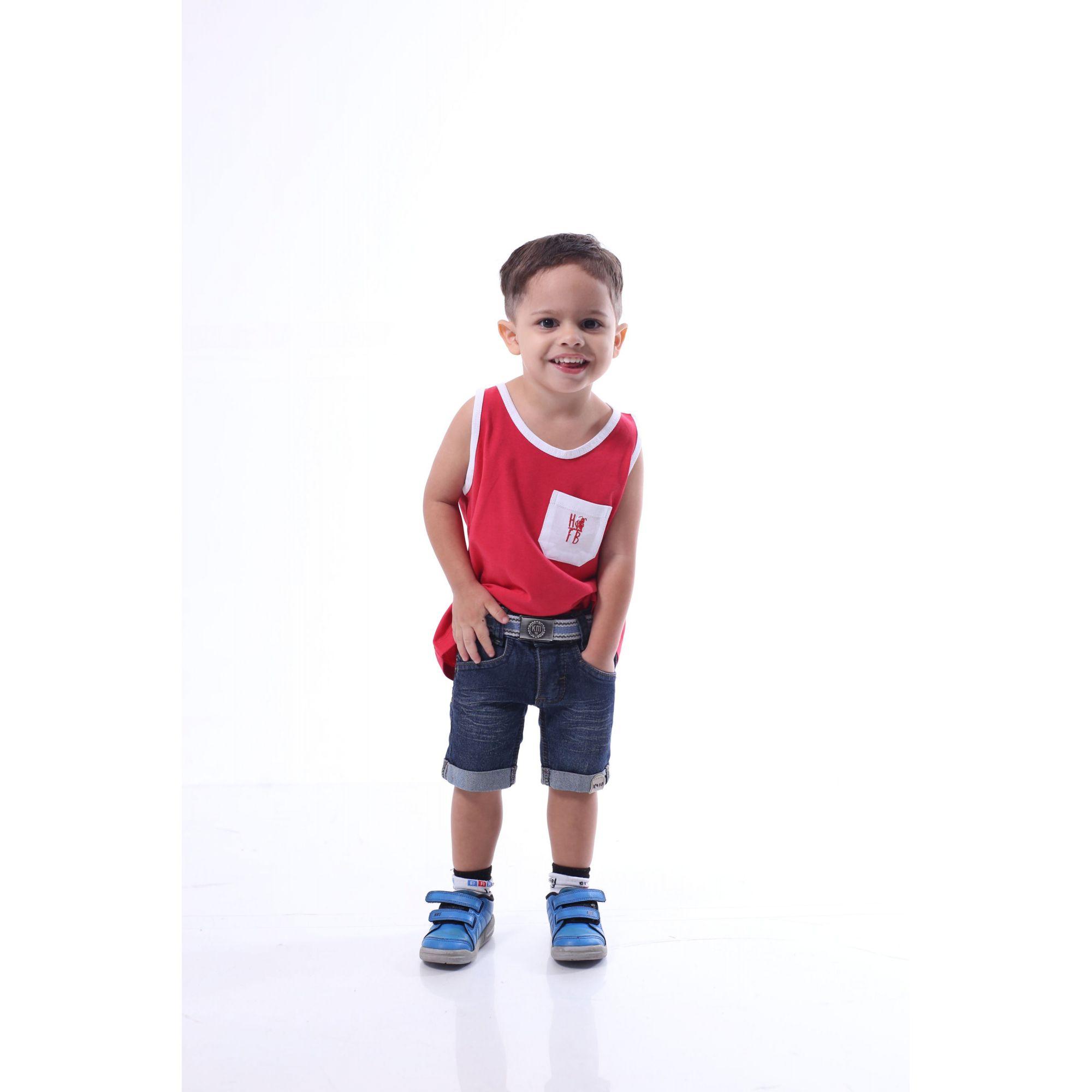 Regata Infantil Vermelha com Bolso Branco