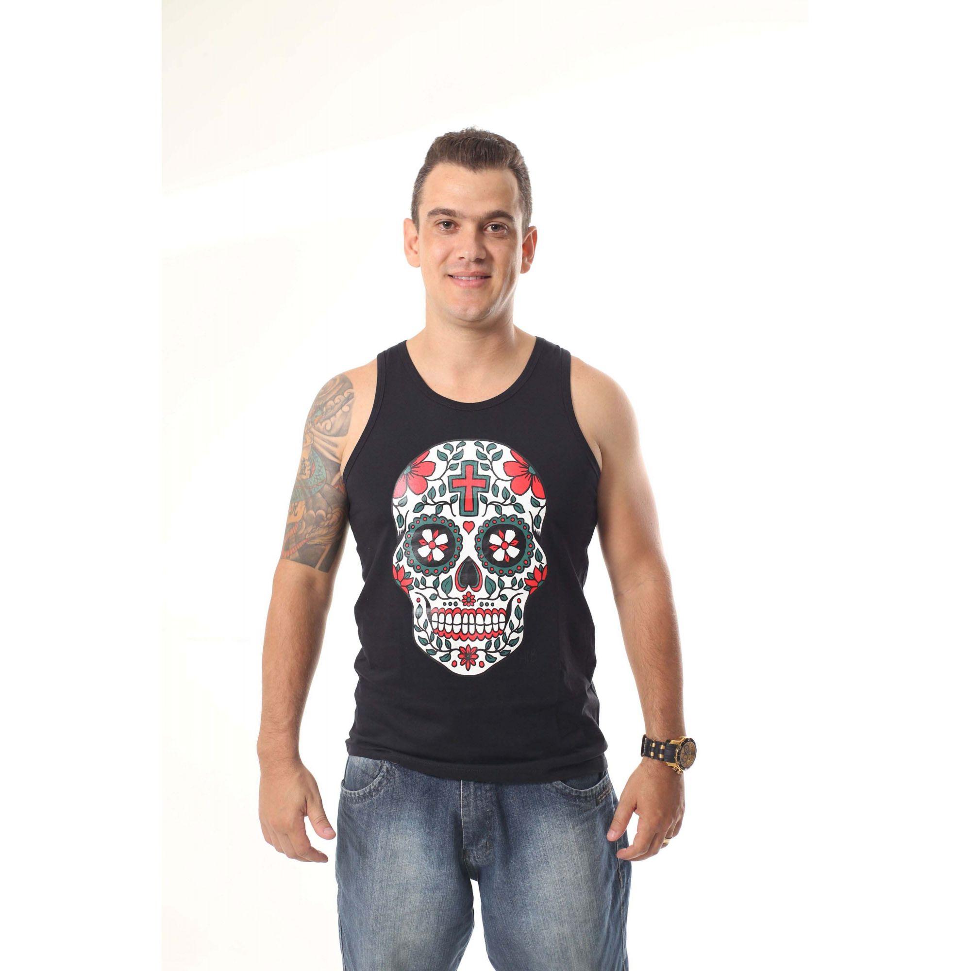 Regata Masculina Preta Caveira Mexicana