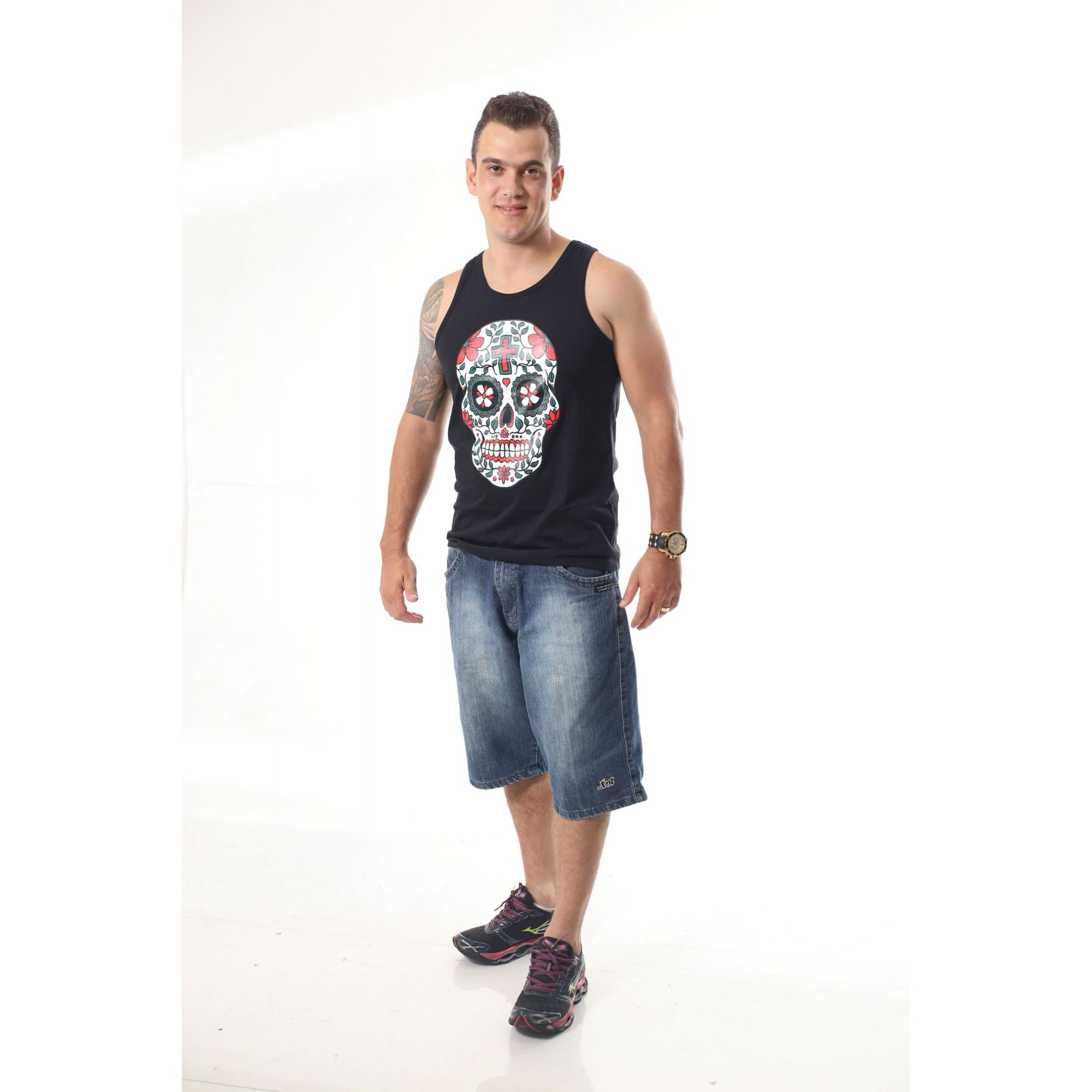 Regata Masculina Preta Caveira Mexicana  - Heitor Fashion Brazil