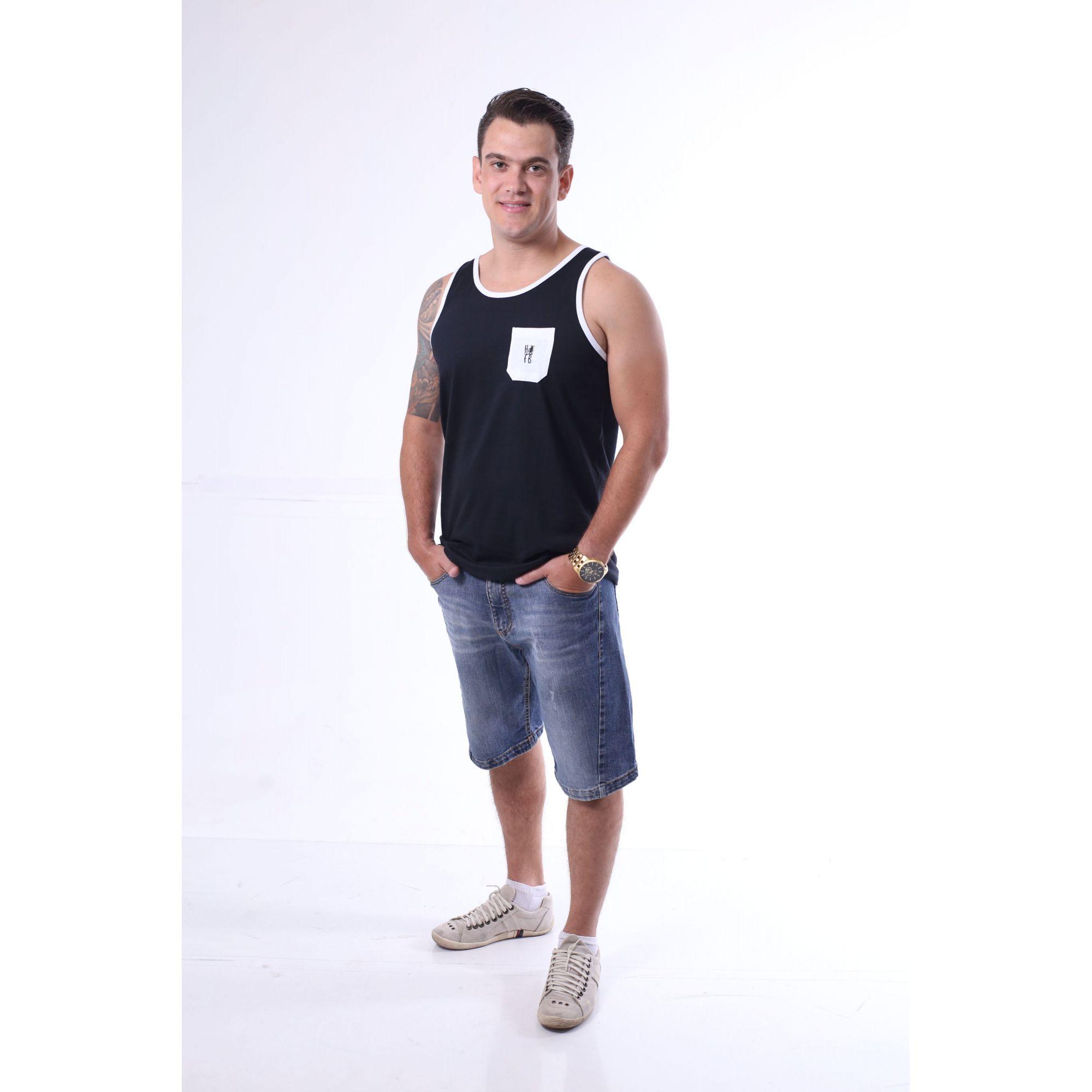 Regata Masculina Preta com Bolso Branco  - Heitor Fashion Brazil