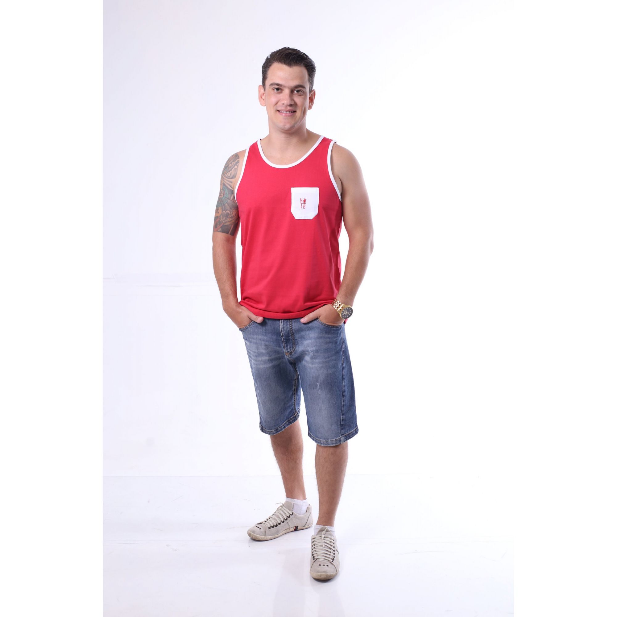 Regata Masculina Vermelha Bolso Branco