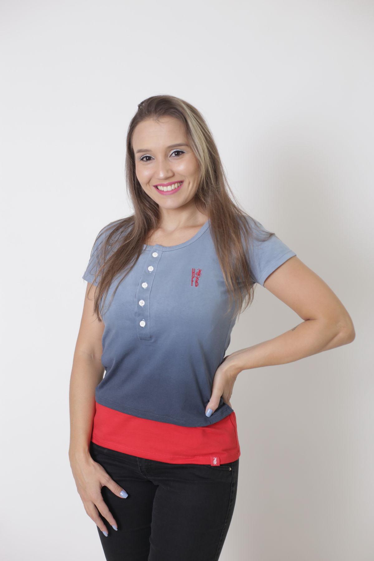 T-Shirt Henley Degradê Feminina  - Heitor Fashion Brazil