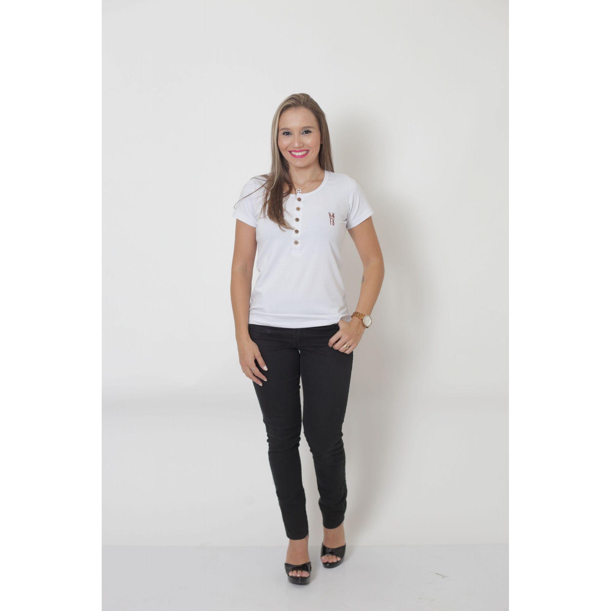 T-Shirt Henley Feminina Branca   - Heitor Fashion Brazil