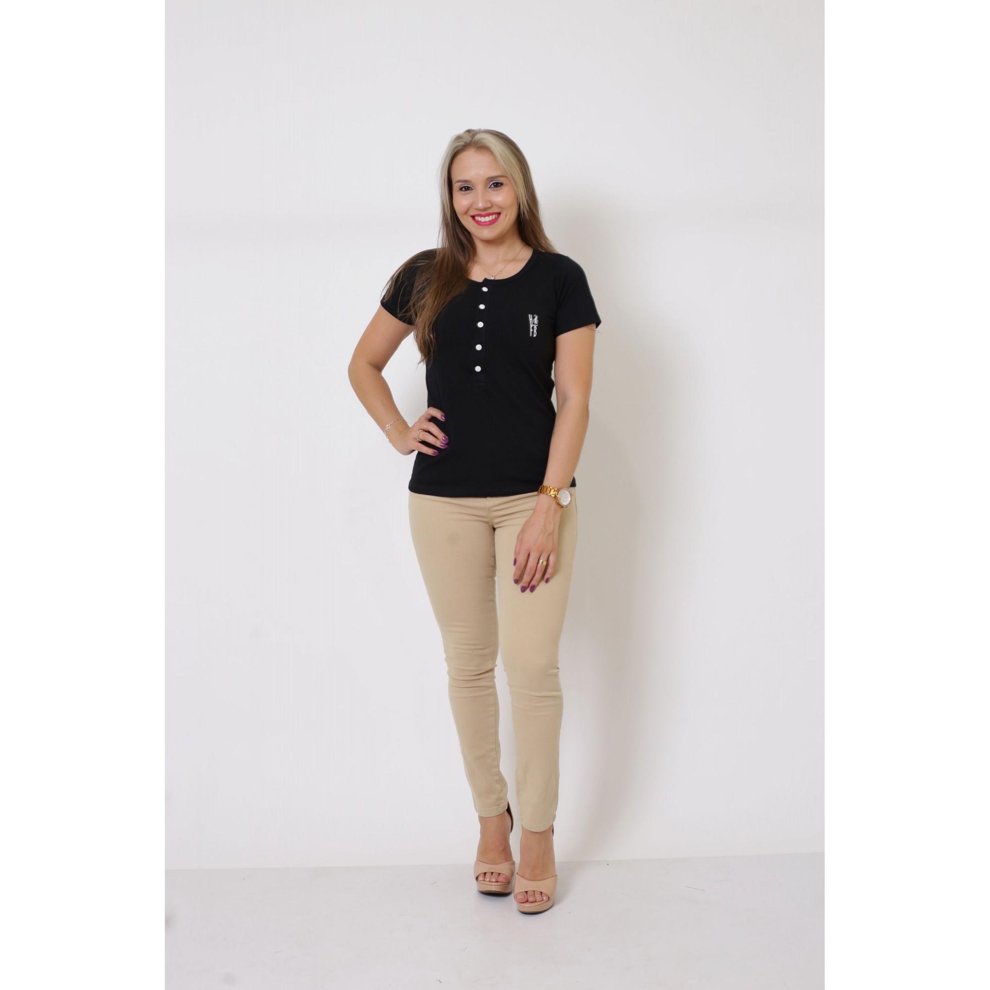 T-Shirt Henley Feminina Preta