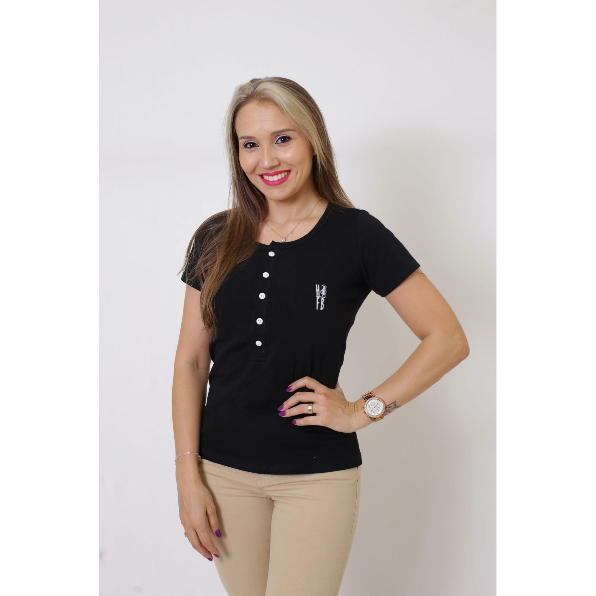 T-Shirt Henley Feminina Preta   - Heitor Fashion Brazil