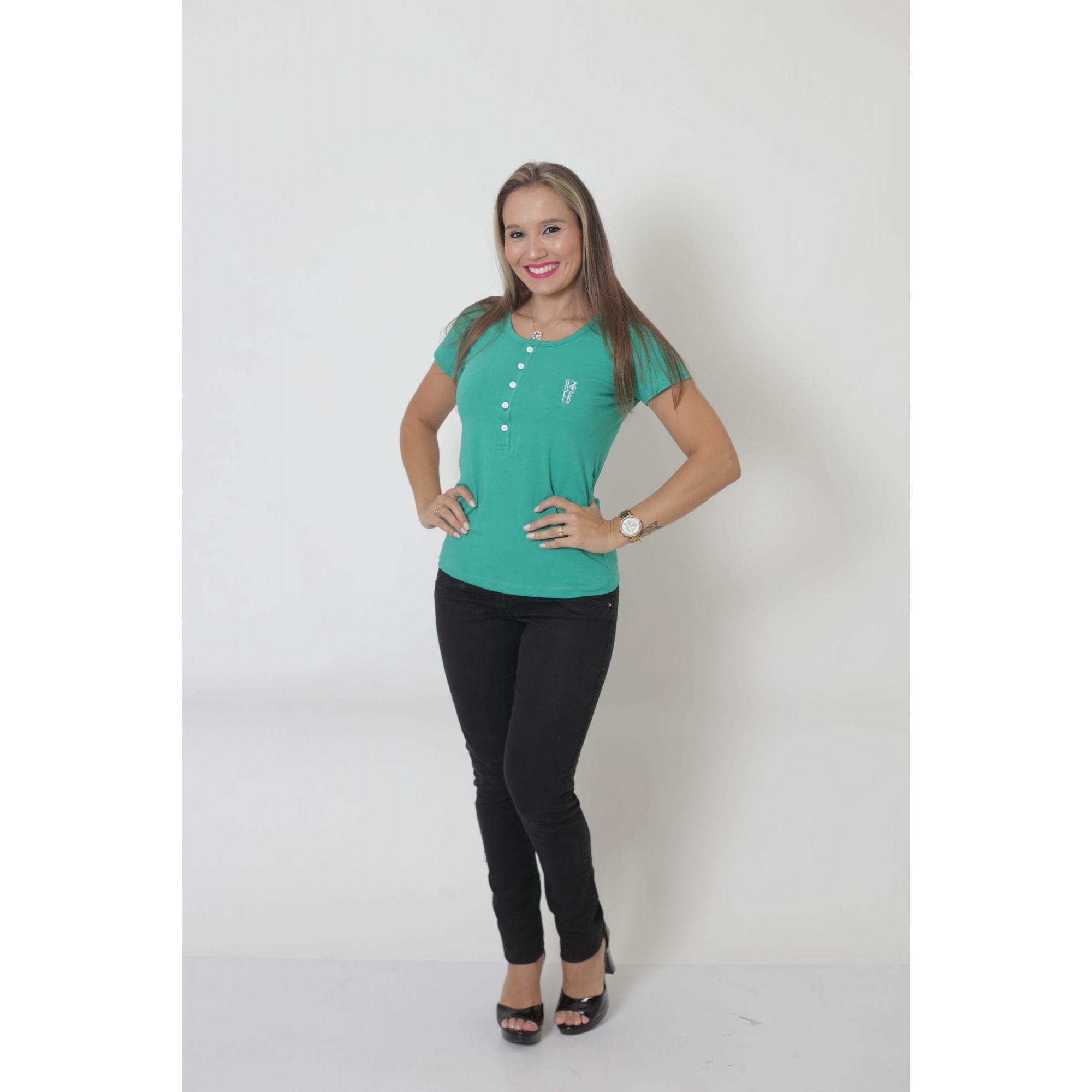 T-Shirt Henley Feminina Verde Jade
