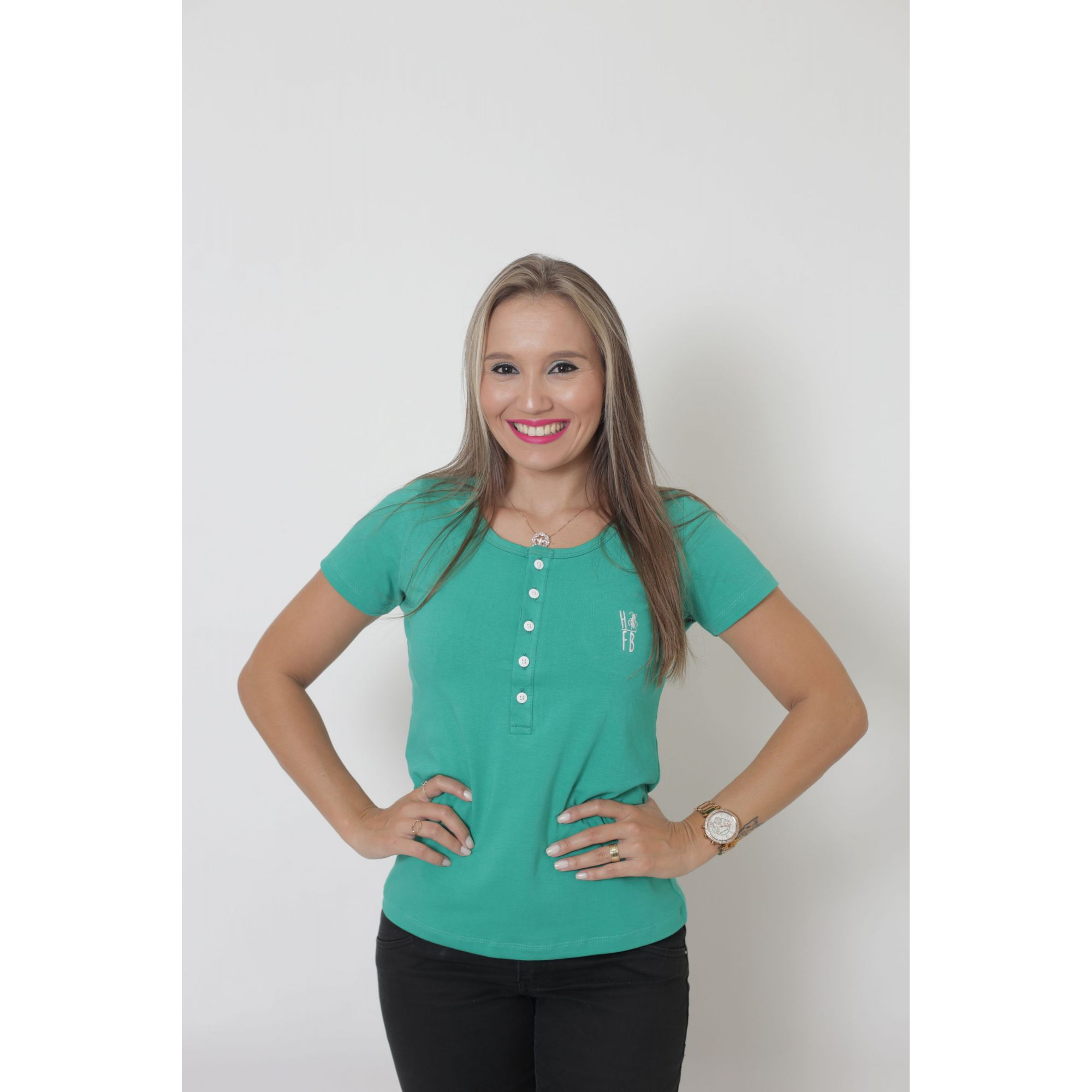 T-Shirt Henley Feminina Verde Jade  - Heitor Fashion Brazil