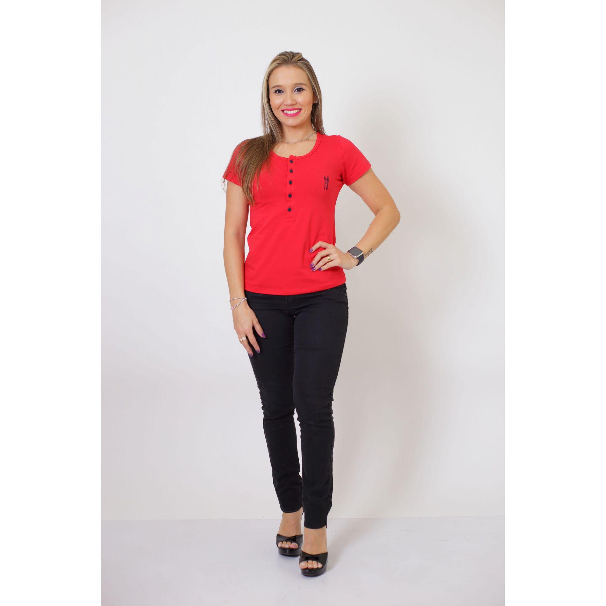 T-Shirt Henley Feminina Vermelho