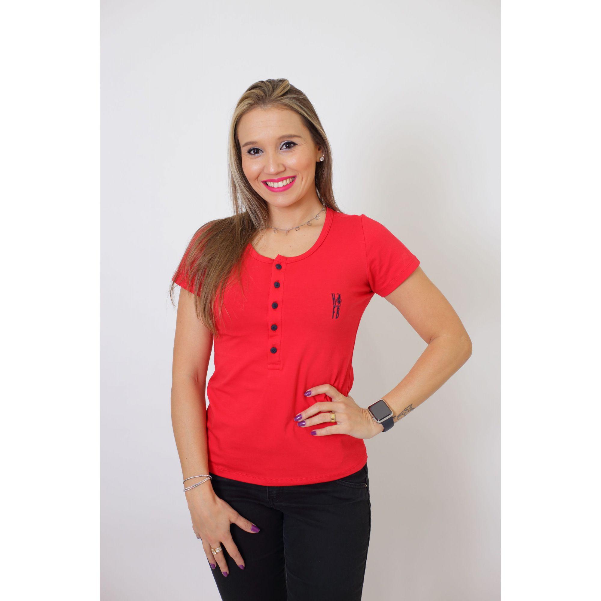 T-Shirt Henley Feminina Vermelho   - Heitor Fashion Brazil