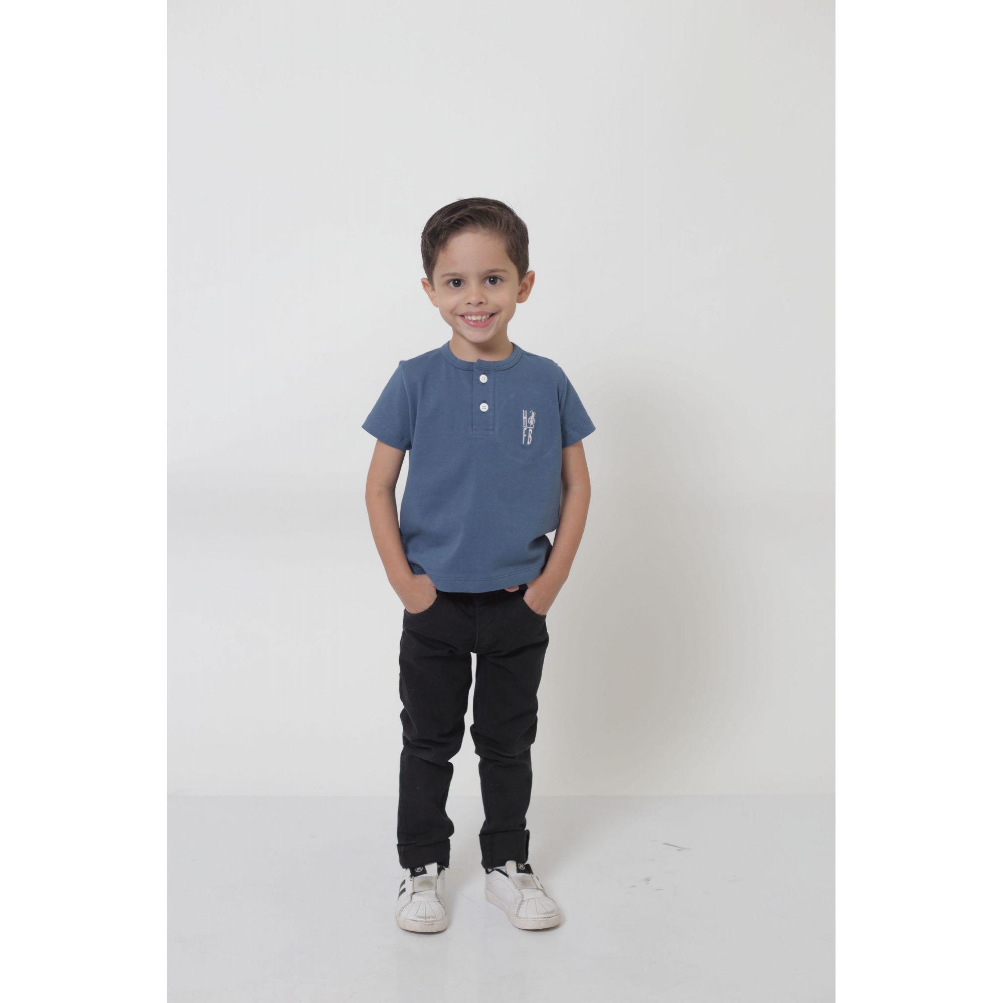 T-Shirt ou Body Unissex - Henley - Infantil - Azul Petróleo