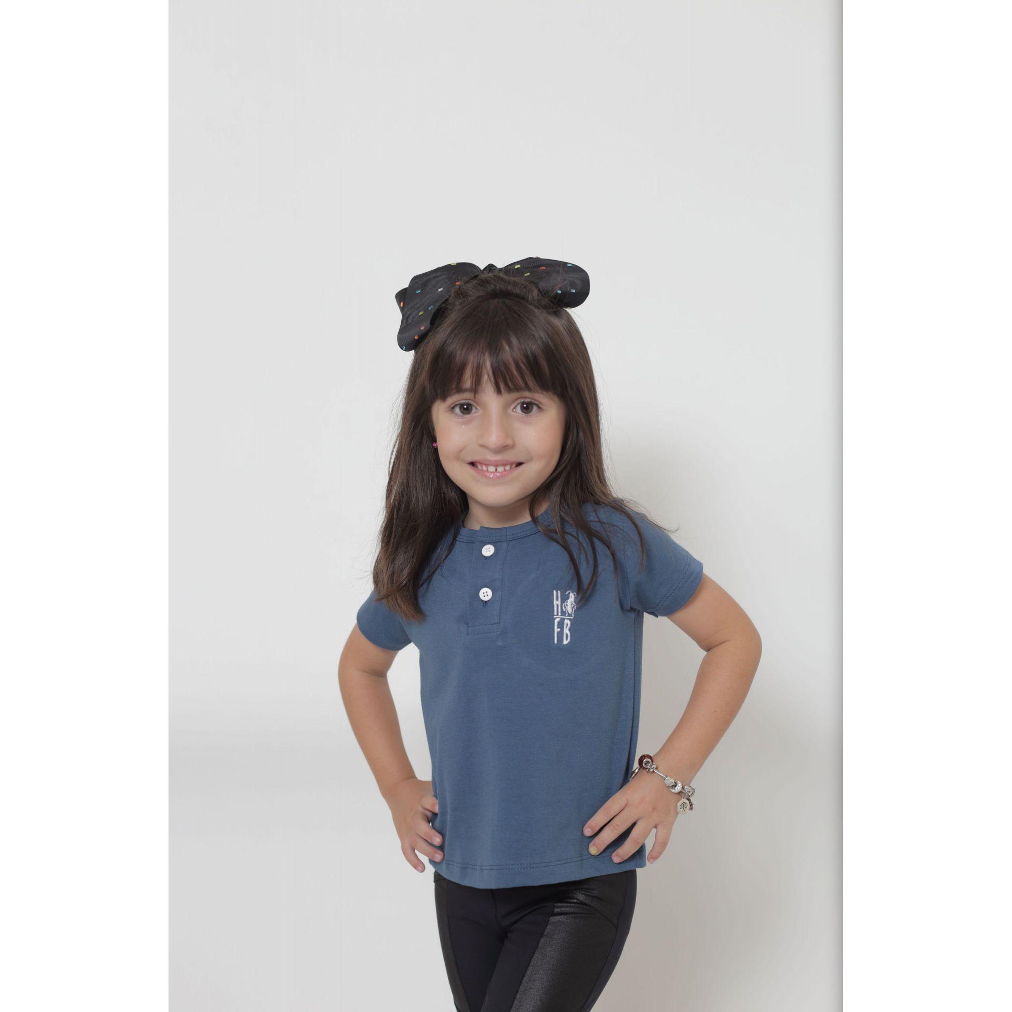 T-Shirt ou Body Unissex - Henley - Infantil - Azul Petróleo  - Heitor Fashion Brazil
