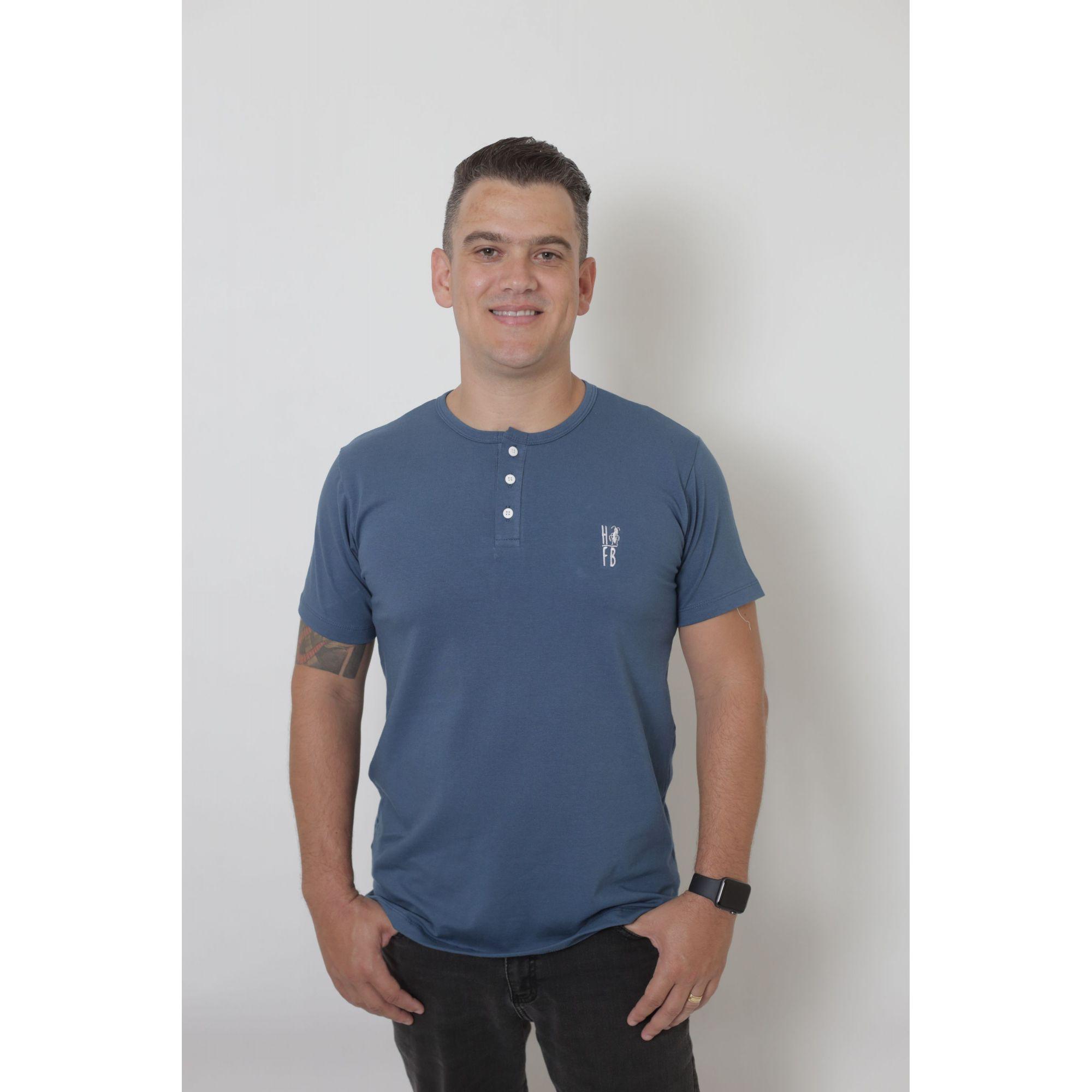 T-Shirt Henley Masculina Azul Petróleo
