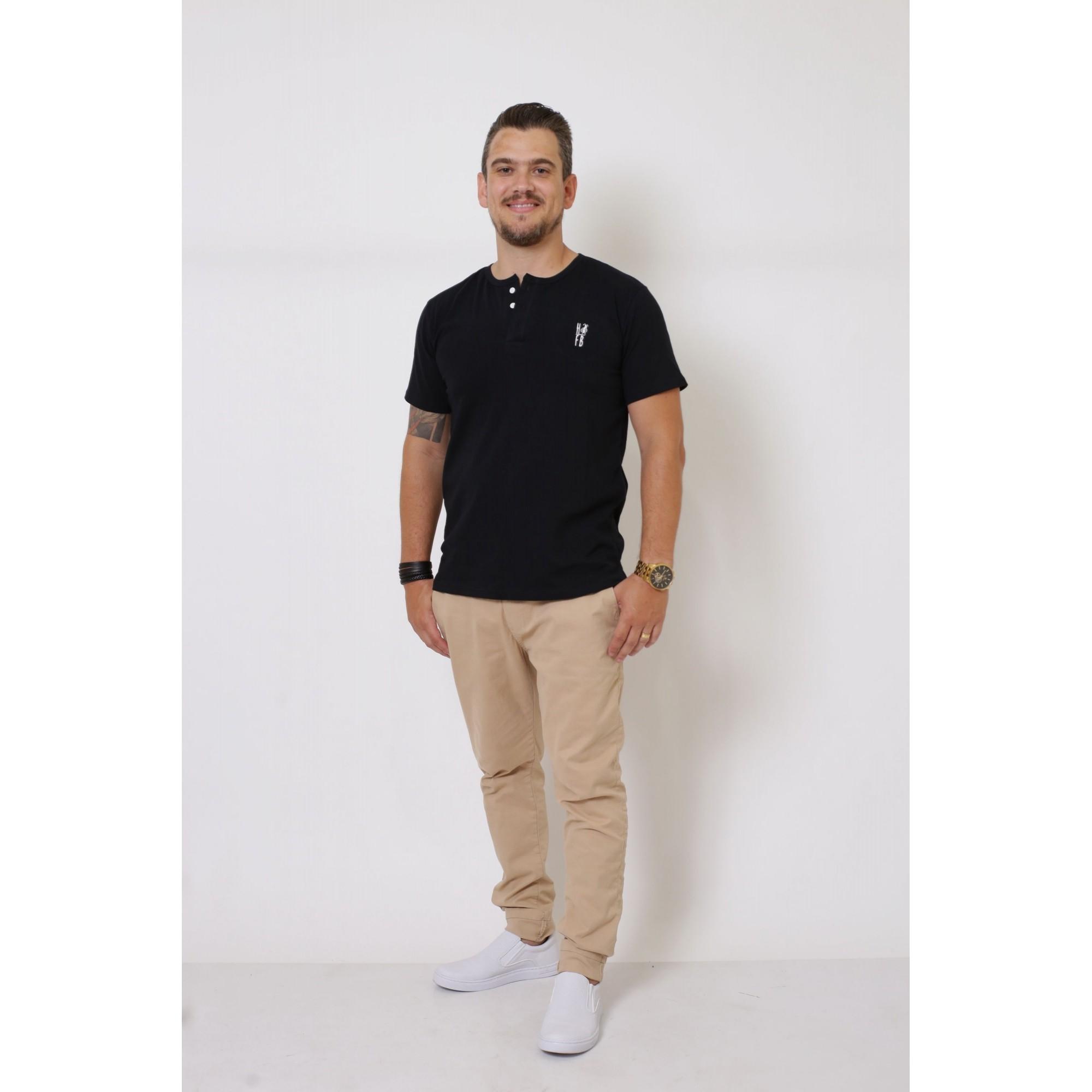 T-Shirt Henley Masculina Preta  - Heitor Fashion Brazil