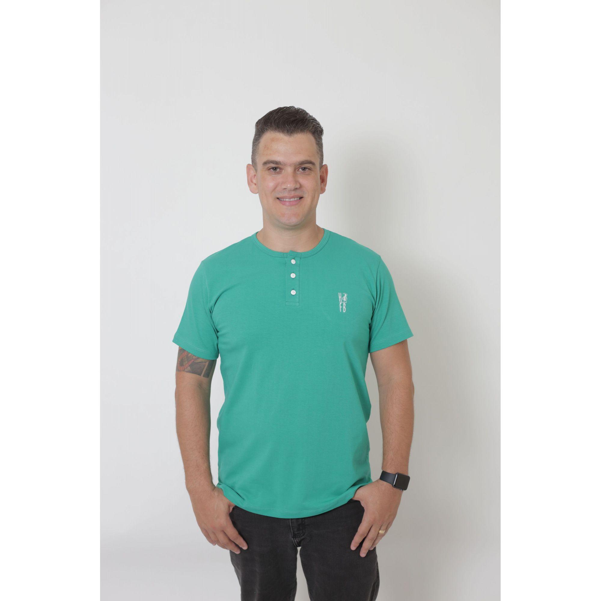 T-Shirt Henley Masculina Verde Jade   - Heitor Fashion Brazil
