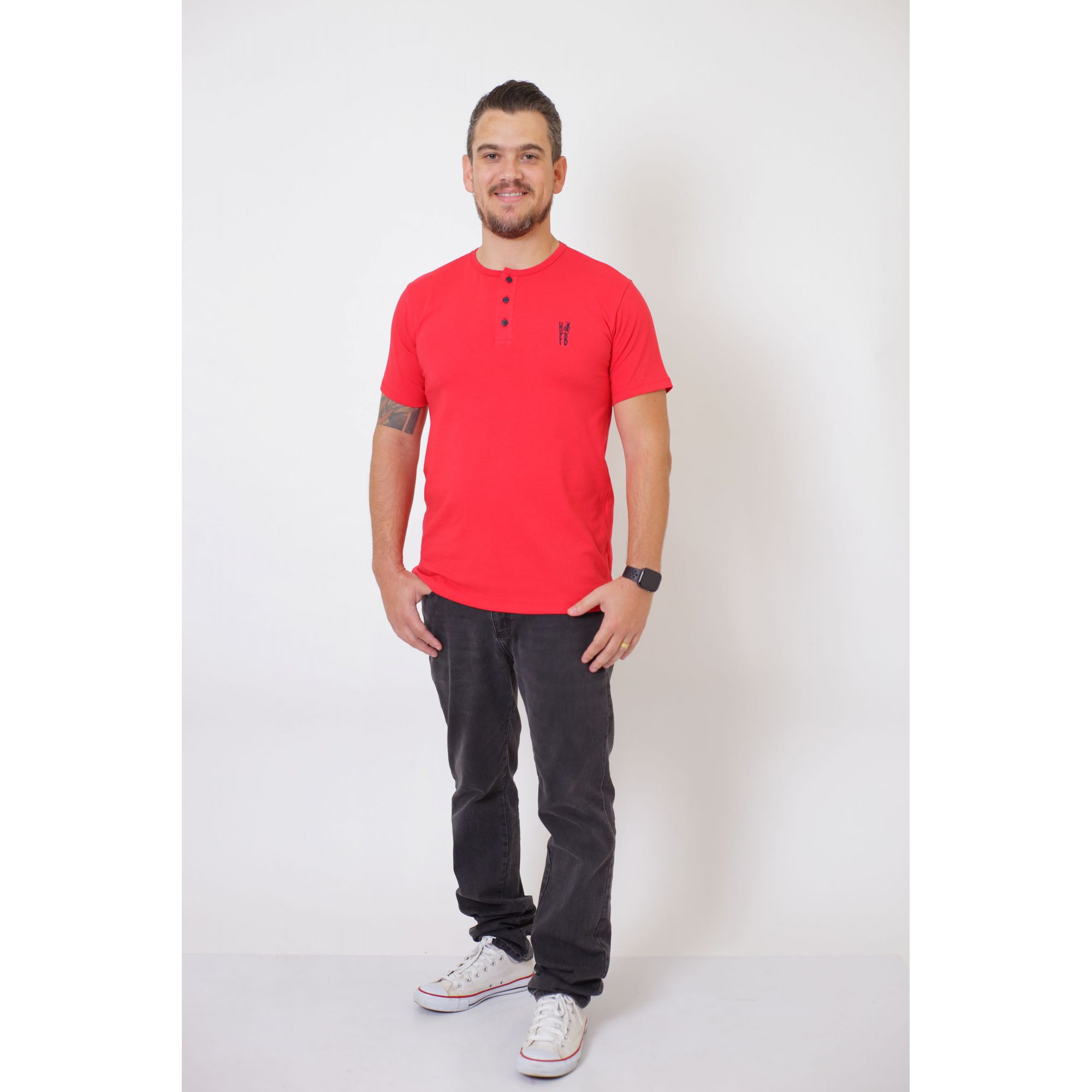 T-Shirt Henley Masculina Vermelha  - Heitor Fashion Brazil