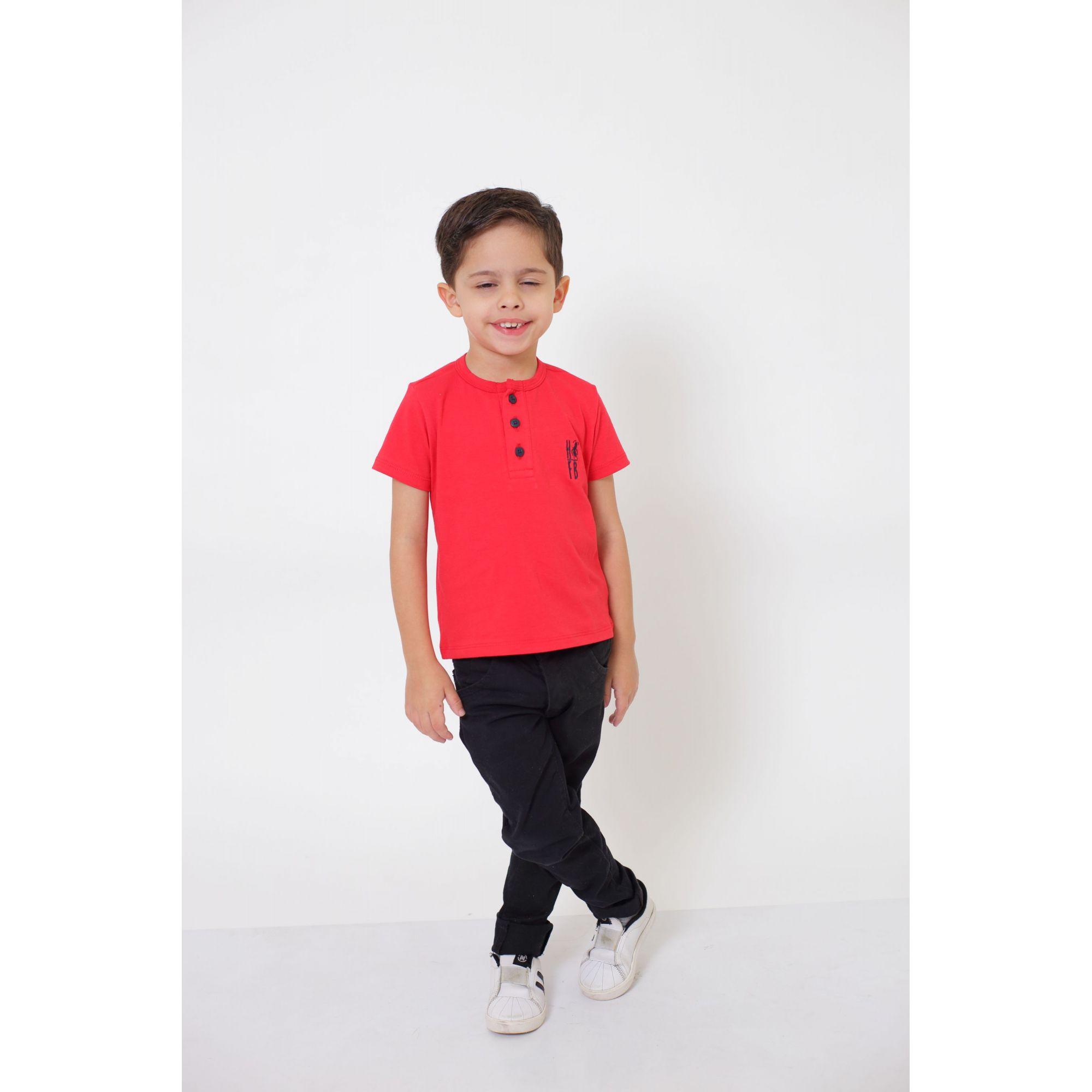 T-Shirt ou Body Henley Infantil Vermelho   - Heitor Fashion Brazil