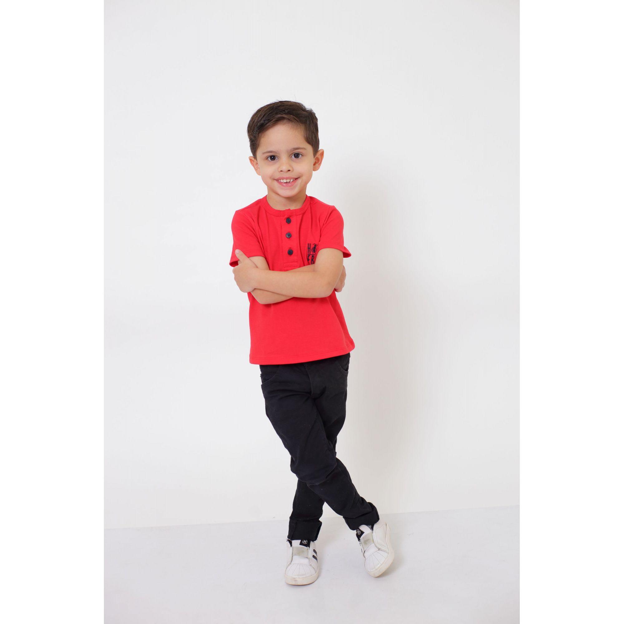T-Shirt ou Body Unissex - Henley - Infantil - Vermelho