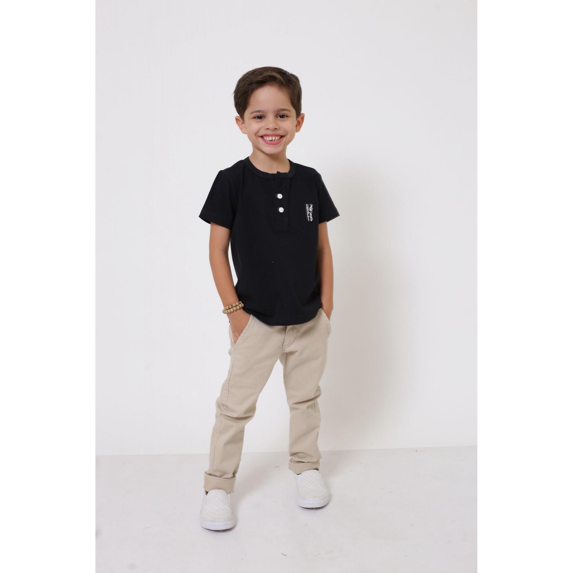 T-Shirt ou Body Unissex - Henley - Infantil - Preta