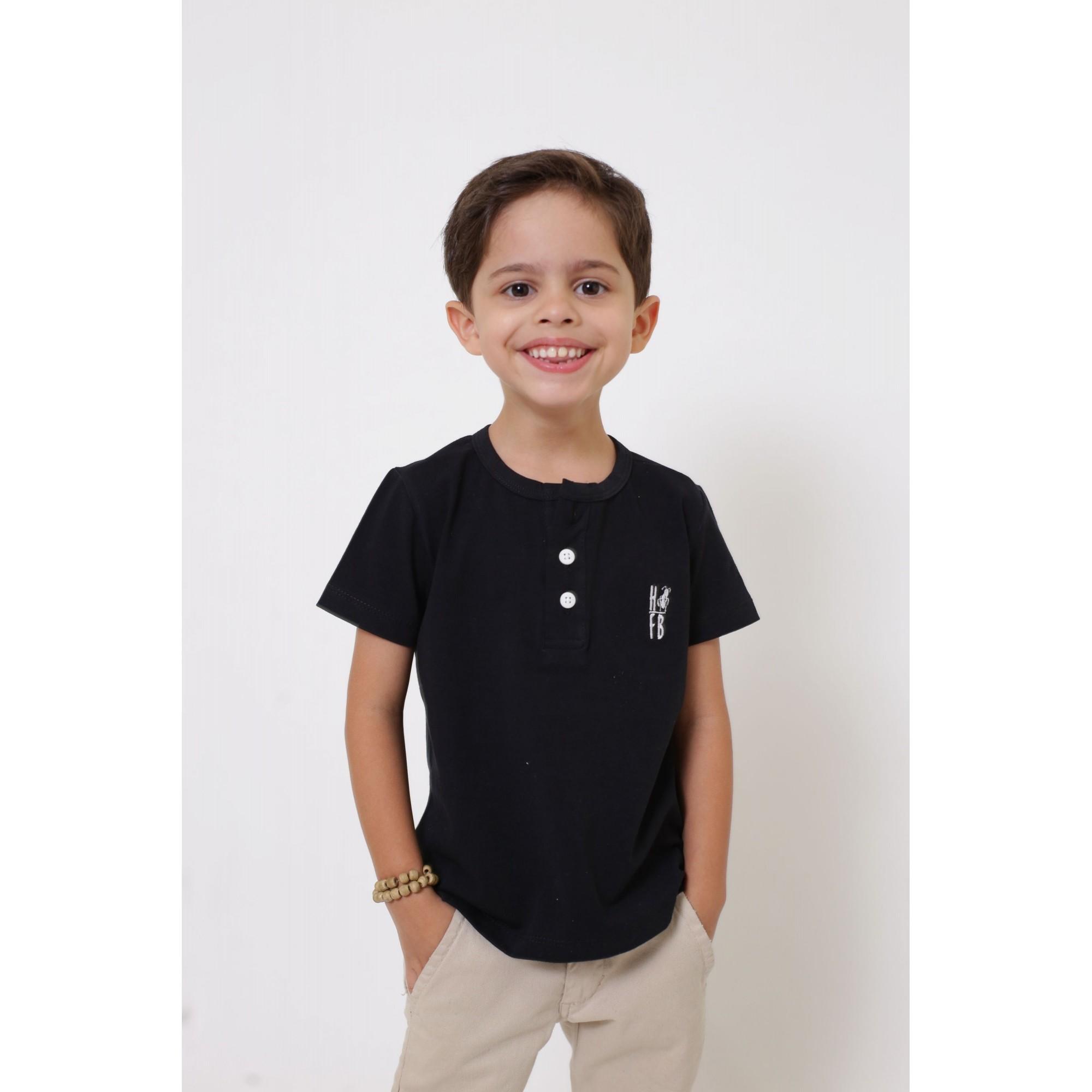 T-Shirt ou Body Unissex - Henley - Infantil - Preta  - Heitor Fashion Brazil