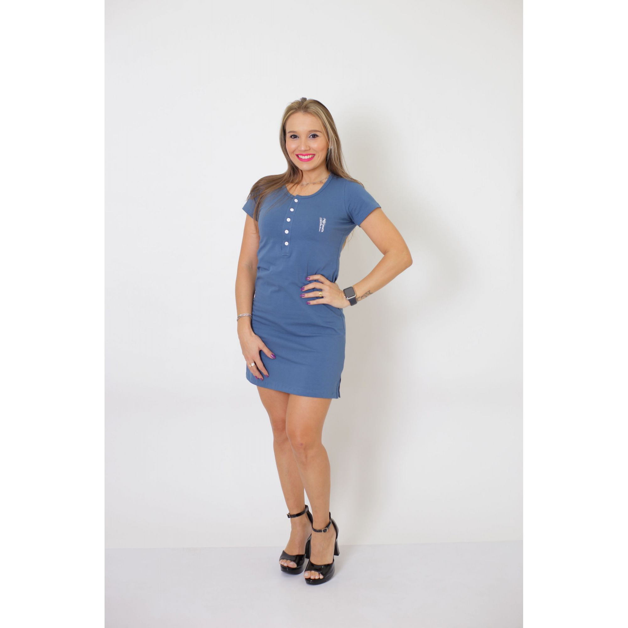Vestido Henley Azul Petróleo    - Heitor Fashion Brazil