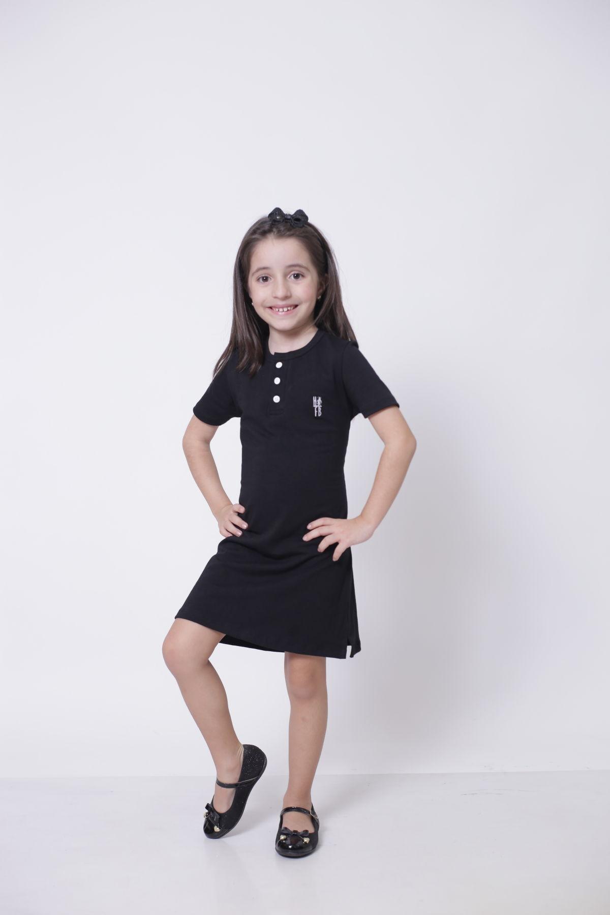 Vestido Henley Infantil Preto  - Heitor Fashion Brazil