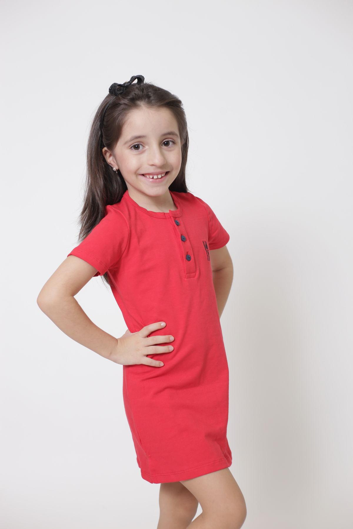 Vestido Henley Infantil Vermelho  - Heitor Fashion Brazil